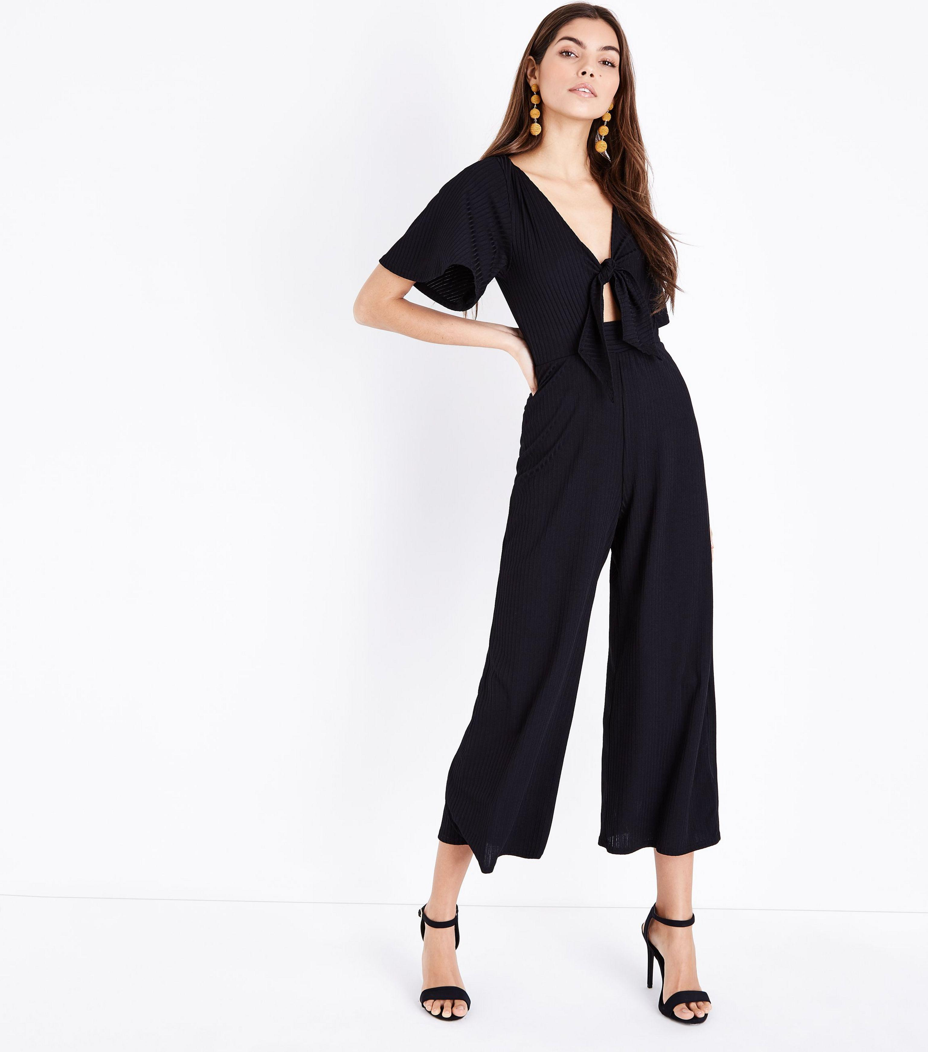 3a0c7f6f7c New Look Tall Black Tie Front Ribbed Culotte Jumpsuit in Black - Lyst