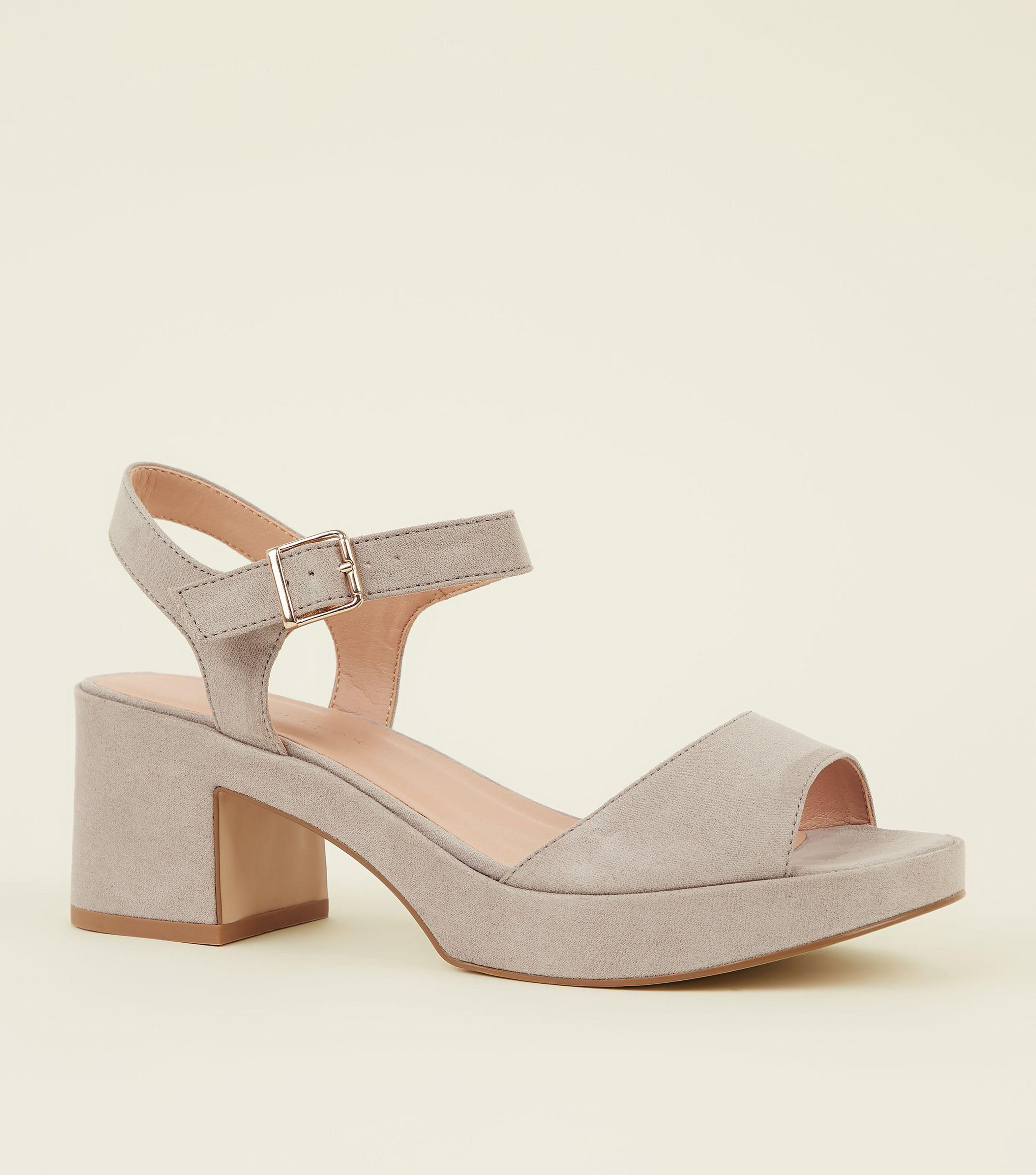 2a96211943bb New Look Wide Fit Grey Suedette Platform Peep Toe Heels in Gray - Lyst