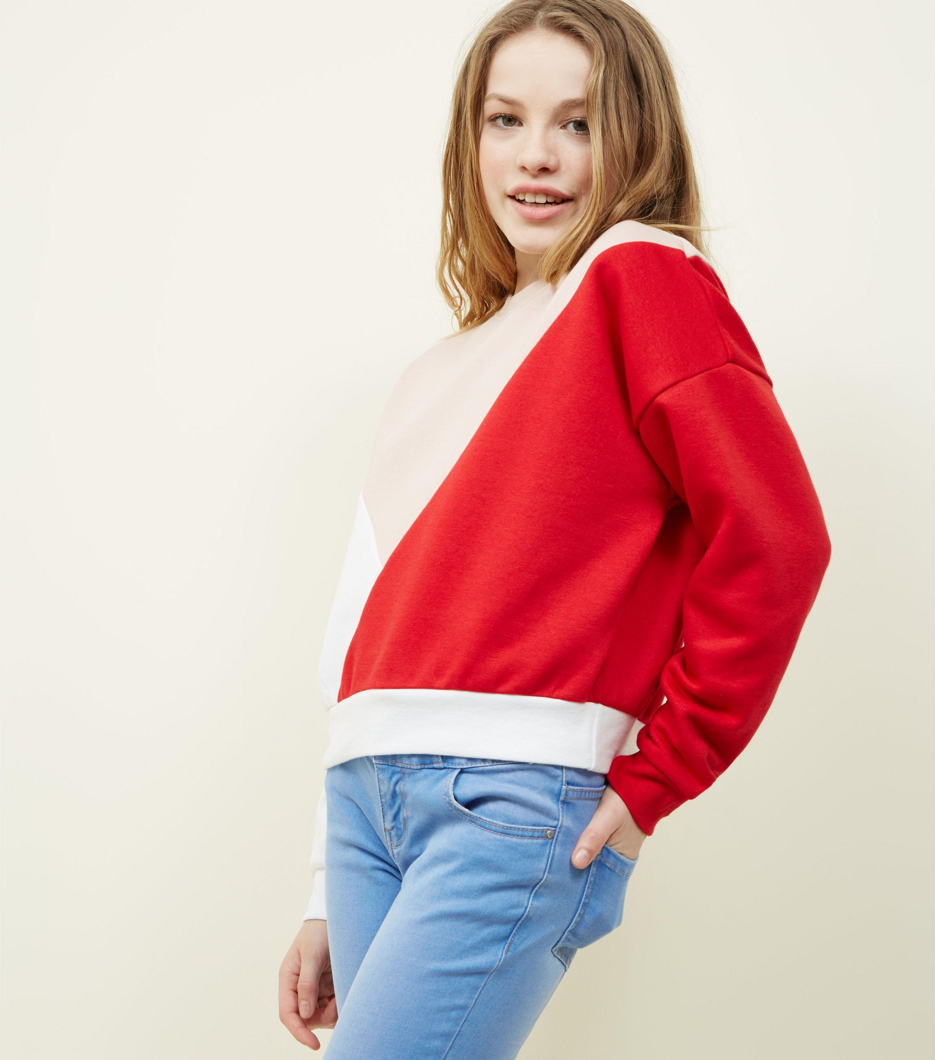 New Look Girls Red Colour Block Sweatshirt in Red - Lyst 1e941f1d49