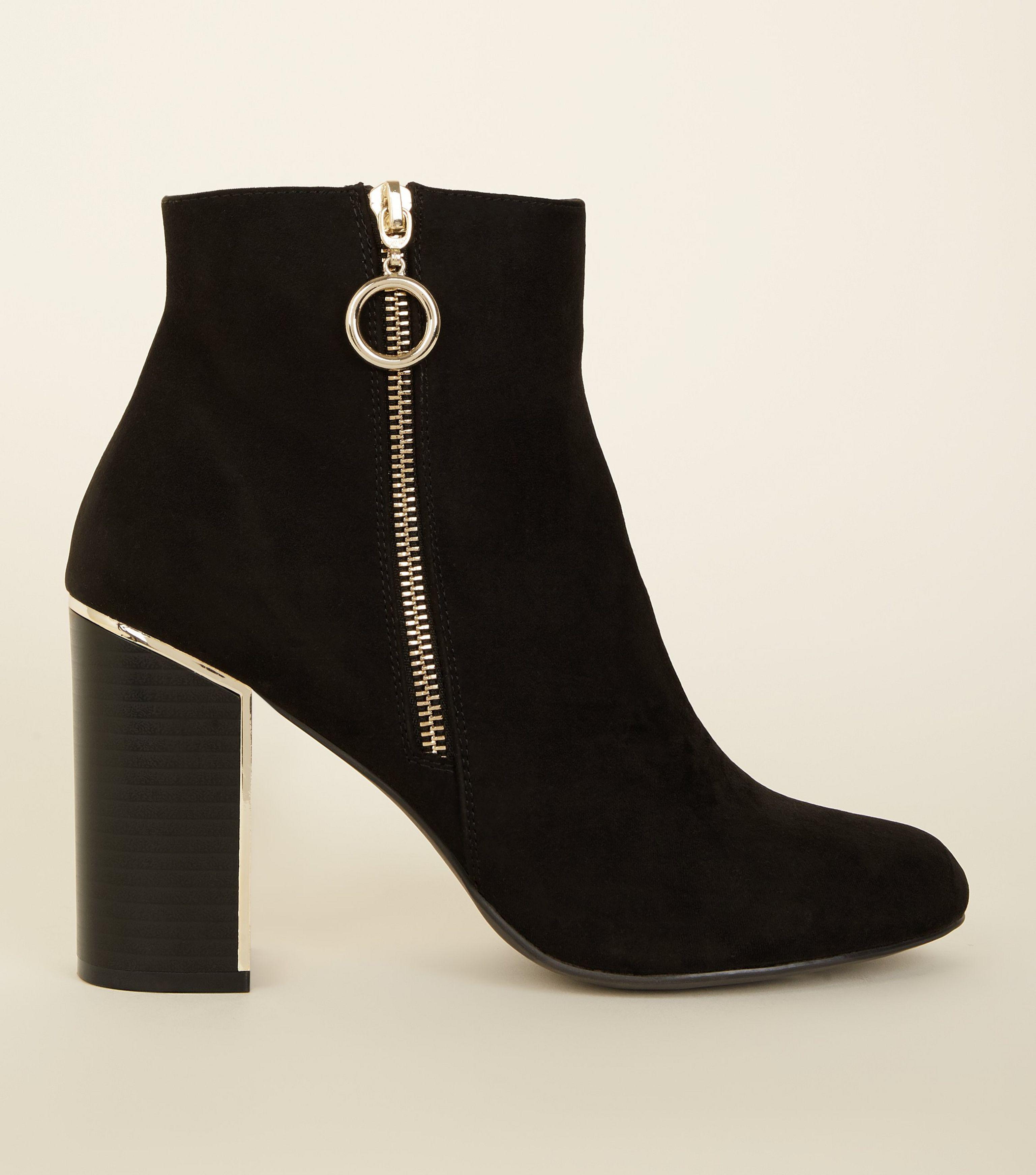 f3c08562454d New Look Black Suedette Metal Heel Ankle Boot in Black - Lyst