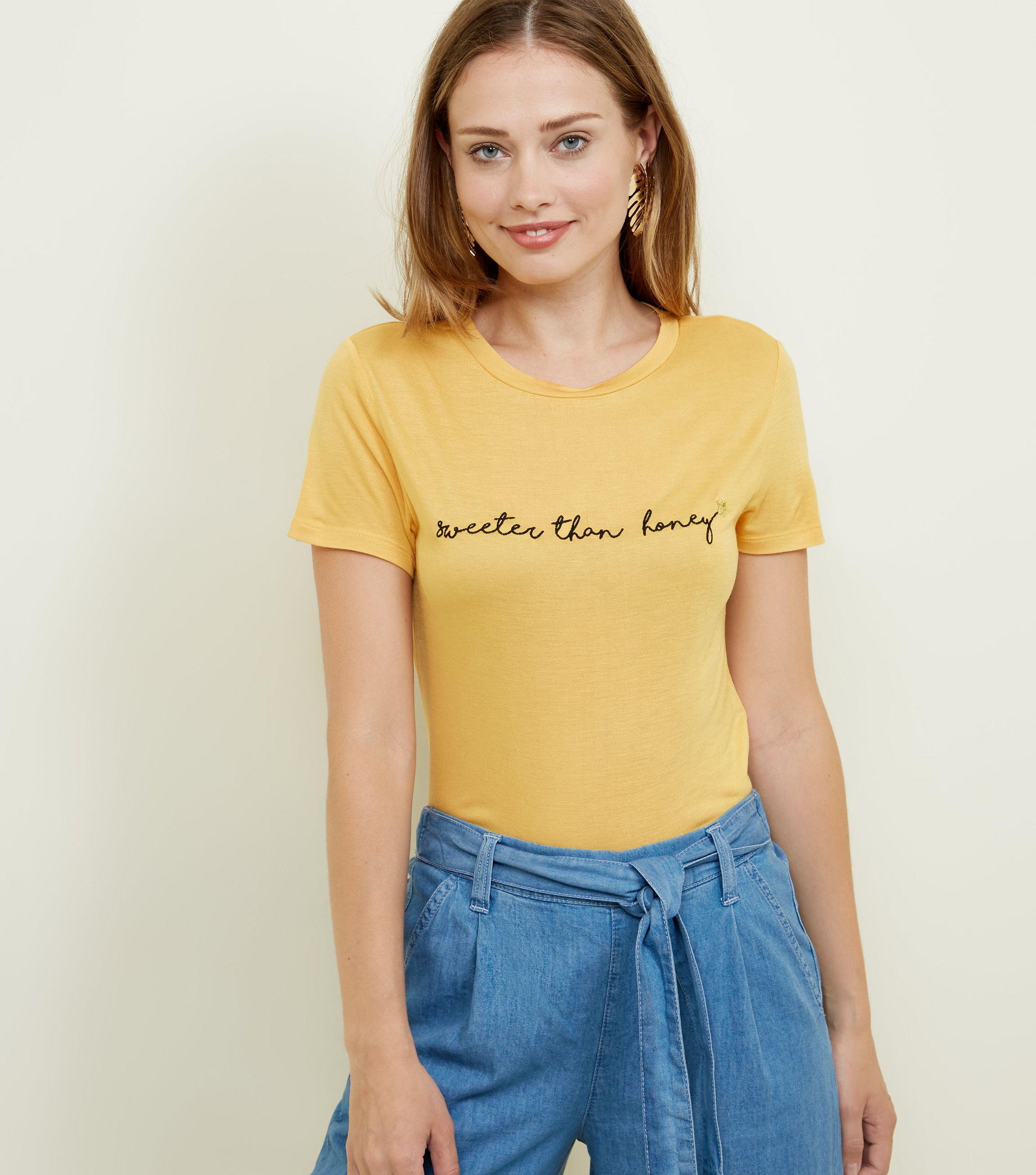 7b889b753b8 New Look Mustard Sweeter Than Honey Slogan T-shirt in Yellow - Lyst