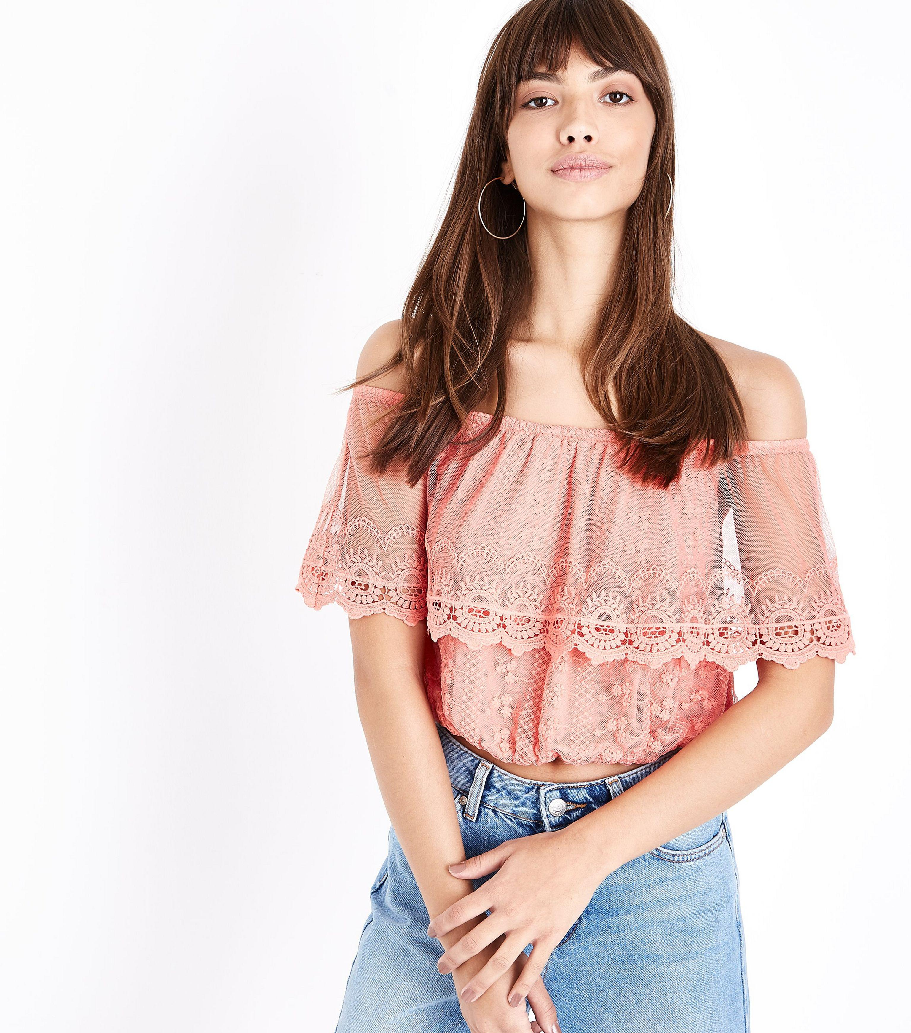 4c672c005a9 New Look Coral Embroidered Mesh Frill Bardot Top in Pink - Lyst