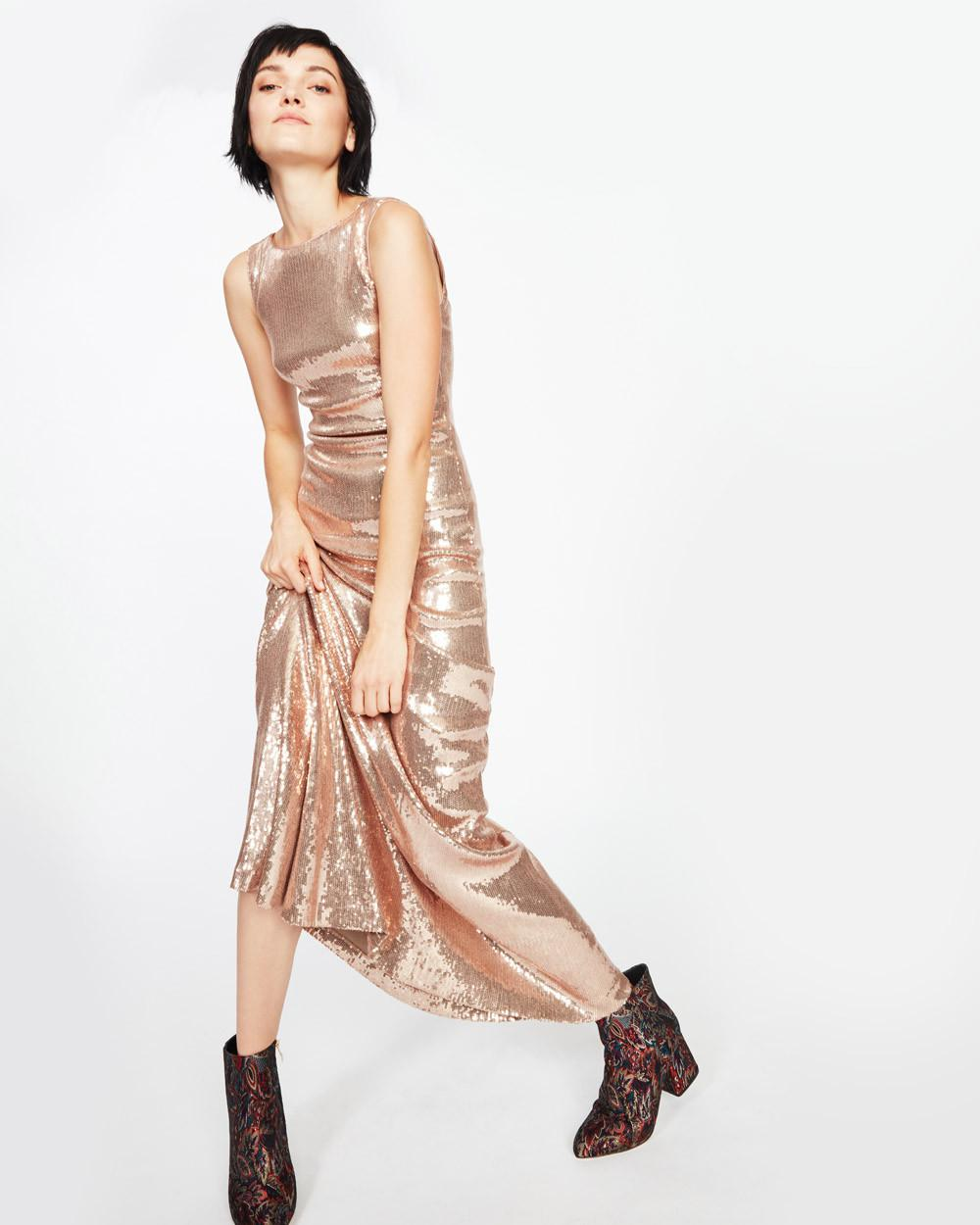 Lyst - Nicole Miller Boatneck Sequin Gown