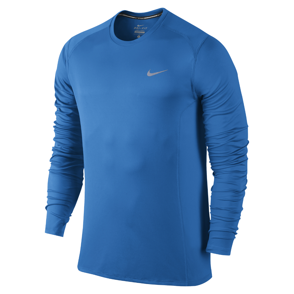 Nike dry miler men 39 s long sleeve running top in blue for for Best athletic dress shirts