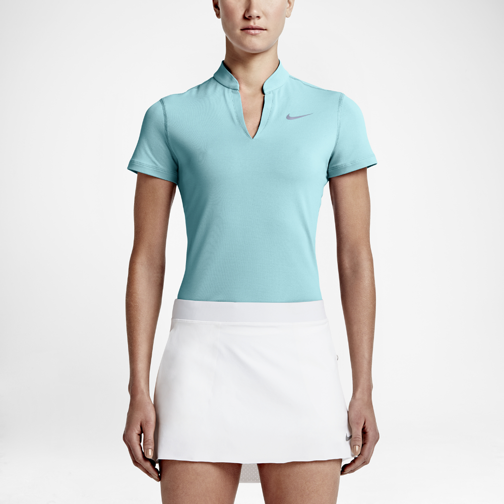 Nike ace pique women 39 s golf polo shirt in blue lyst for Nike womens golf shirts polo