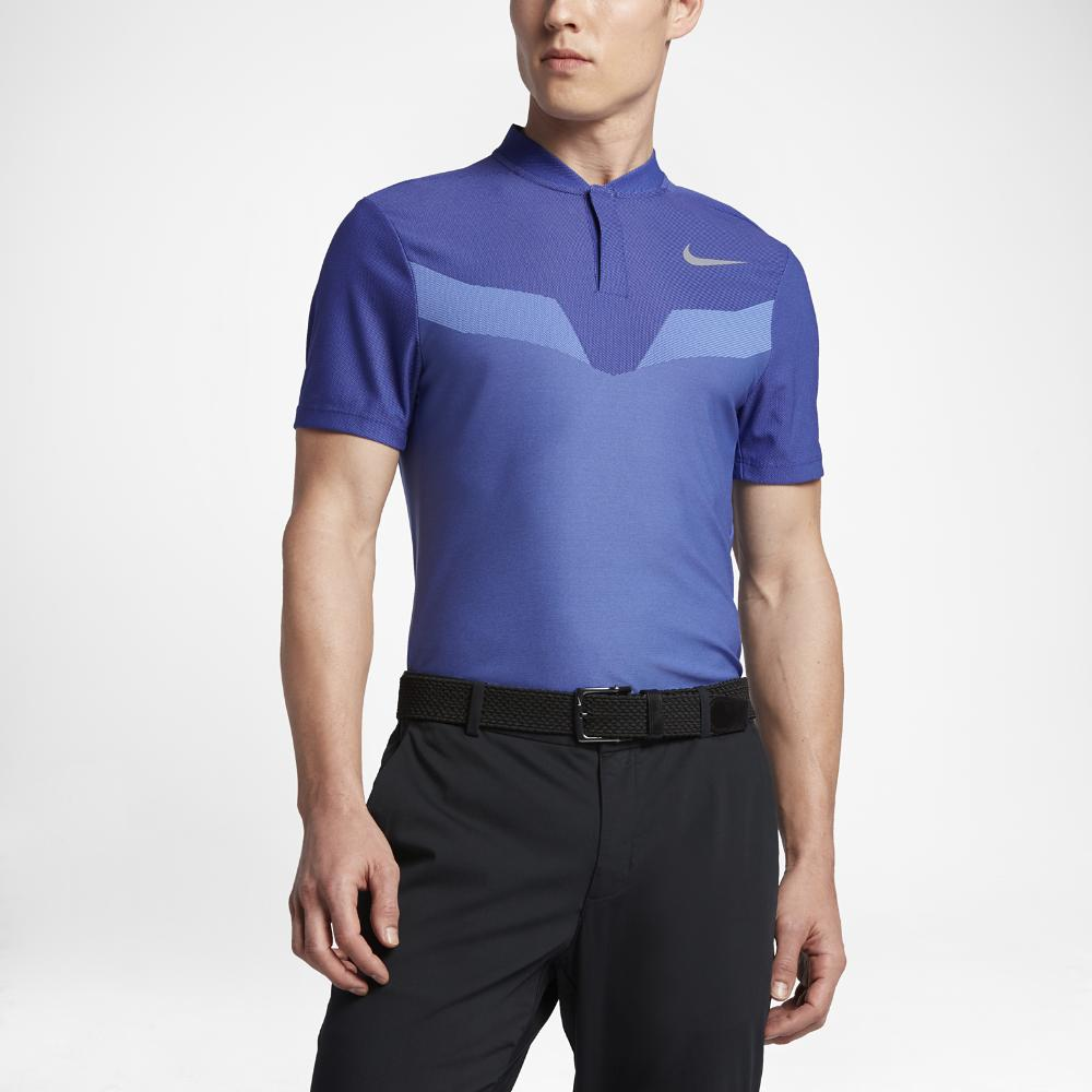 Nike zonal cooling men 39 s slim fit golf polo shirt in blue for Slim fit golf shirts