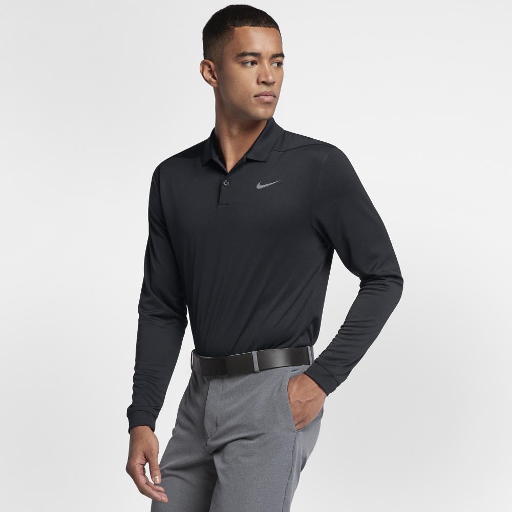 82eab9108 Nike. Black Dry Victory Men's Long Sleeve Standard Fit Golf Polo Shirt