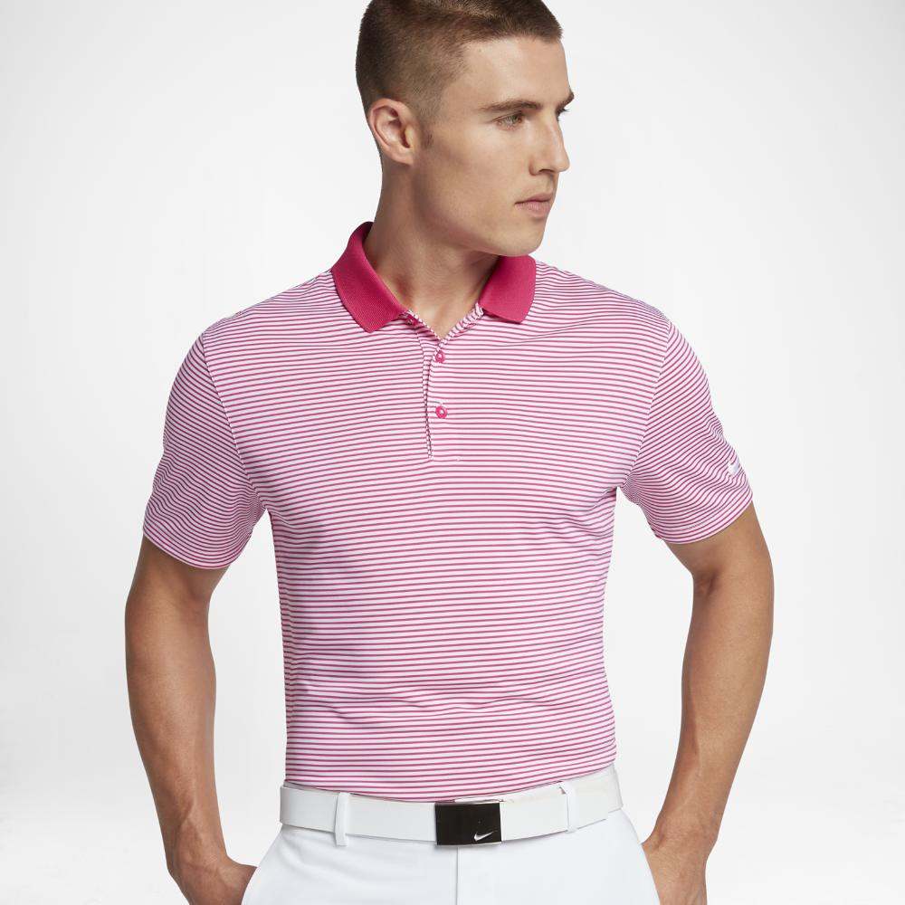028ca3de Nike Victory Mini Stripe Men's Standard Fit Golf Polo Shirt in Pink ...