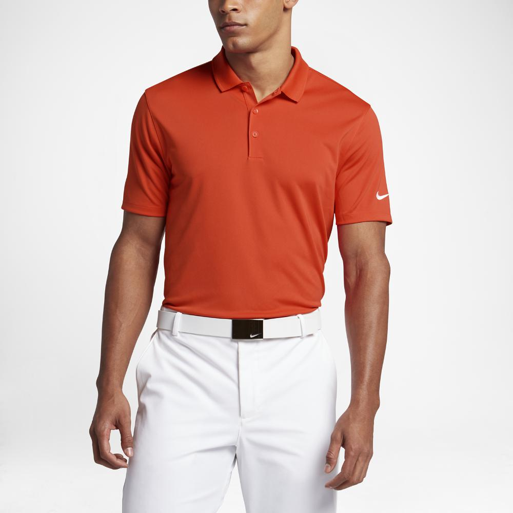 Nike Victory Solid Men's Standard Fit Golf Polo Shirts Team Orange/White
