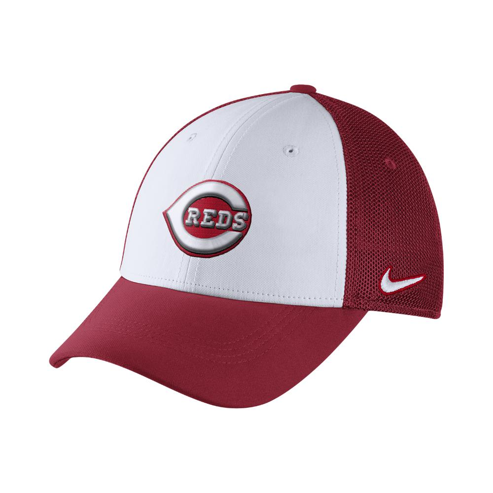 61f3f46c734 ... cheapest nike mesh back swoosh flex mlb reds fitted hat in red for men  lyst b200f