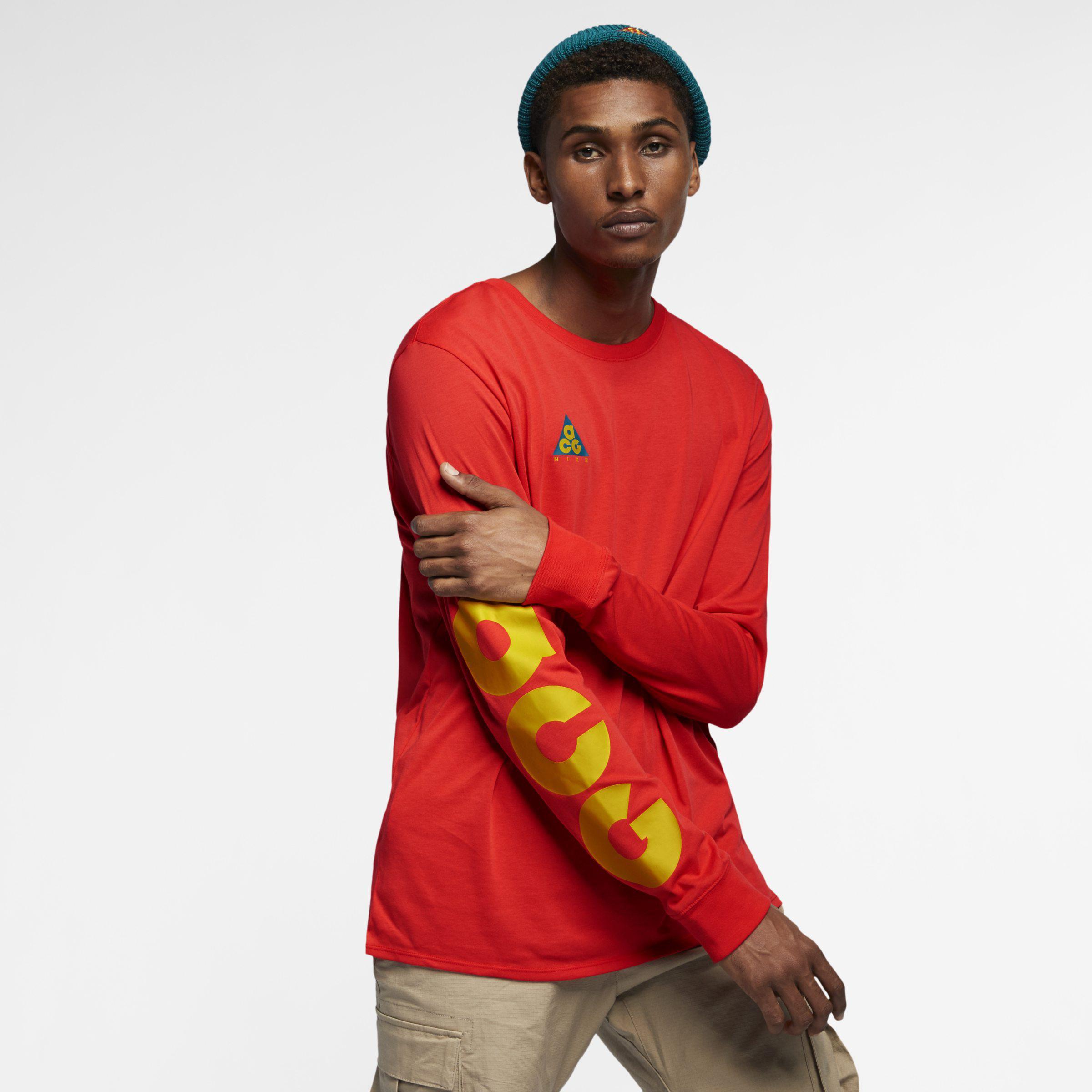 8332ce0a Nike Sportswear Acg Long-sleeve T-shirt in Red - Lyst