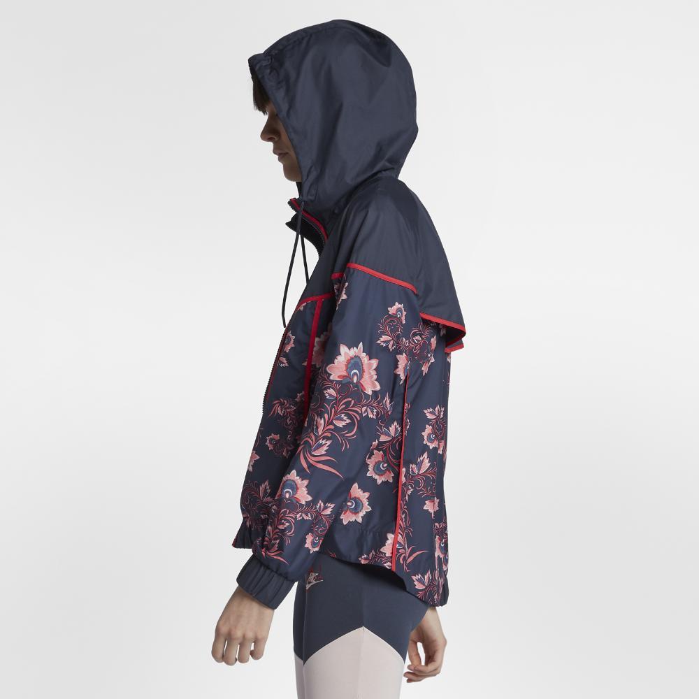 a9c655ea72d9 Lyst - Nike Sportswear Windrunner Floral Women s Printed Jacket in Blue