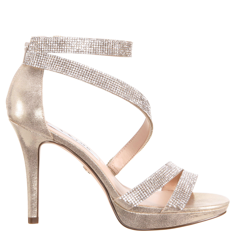Alissa Metallic Suede Rhinestone Detail Strappy Dress Sandals ht38k