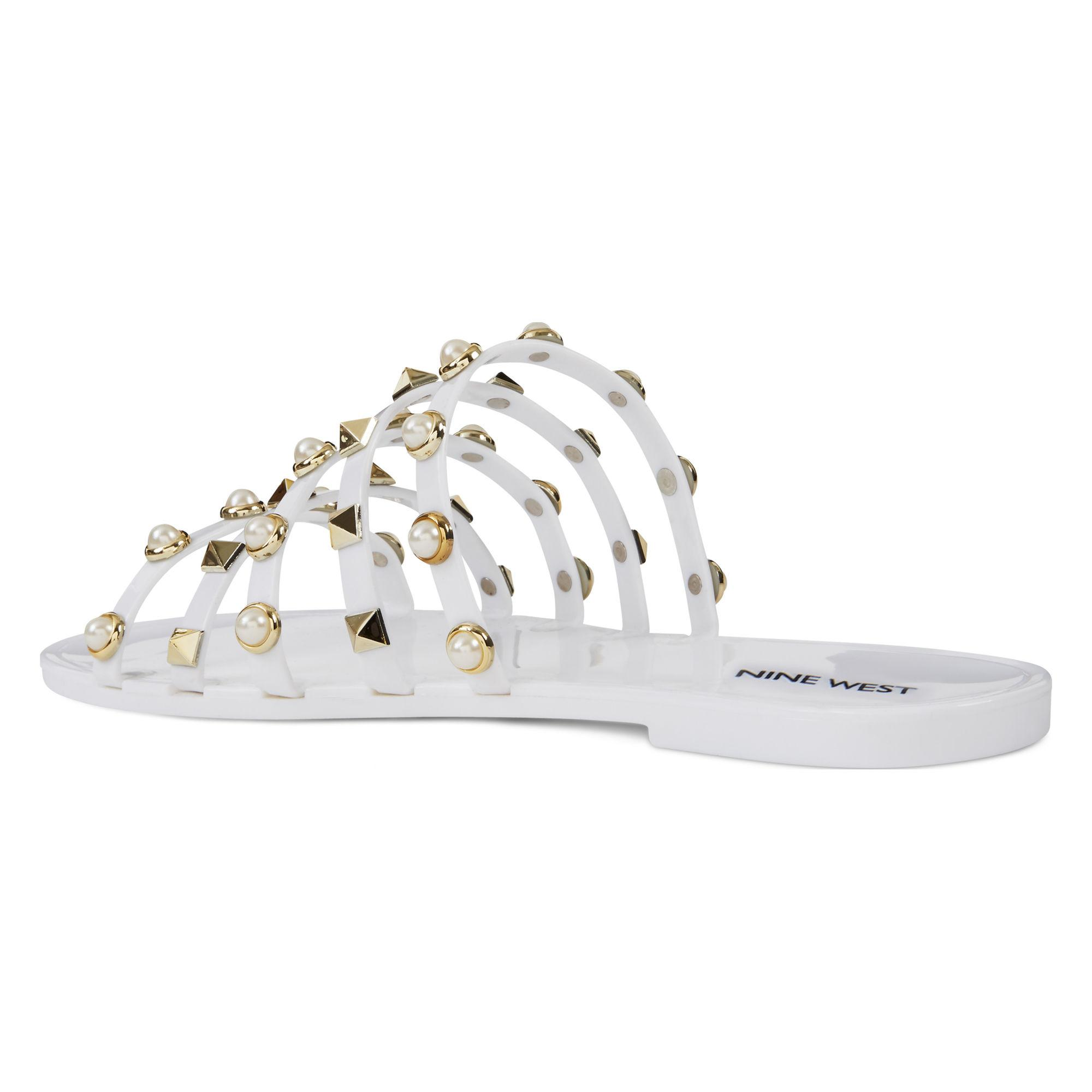 99ed1e553f8 Lyst - Nine West Cariana Jelly Slide Sandals in White