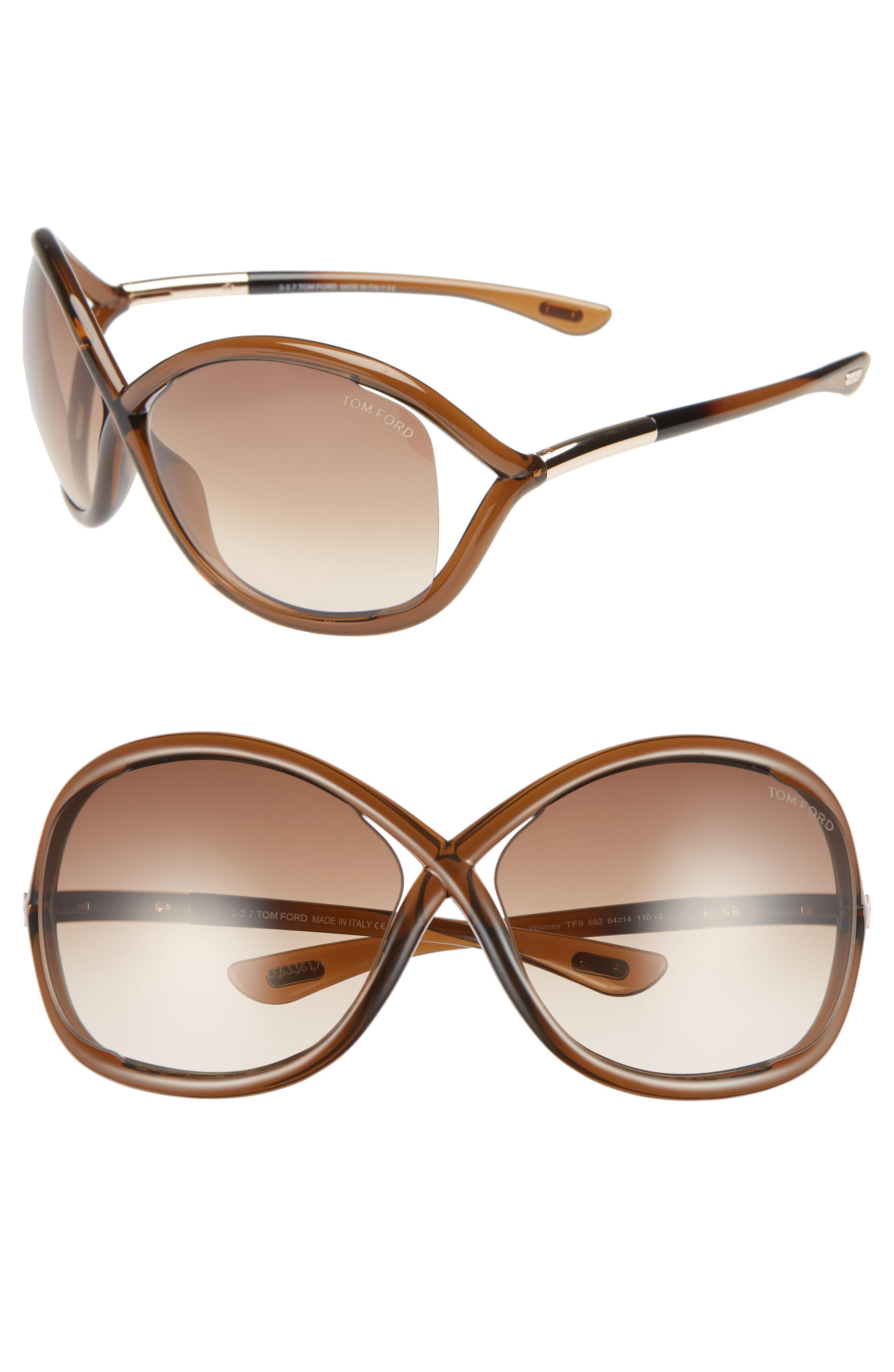 8a5ec9784e3 Tom Ford -  whitney  64mm Open Side Sunglasses - Dark Brown - Lyst. View  fullscreen