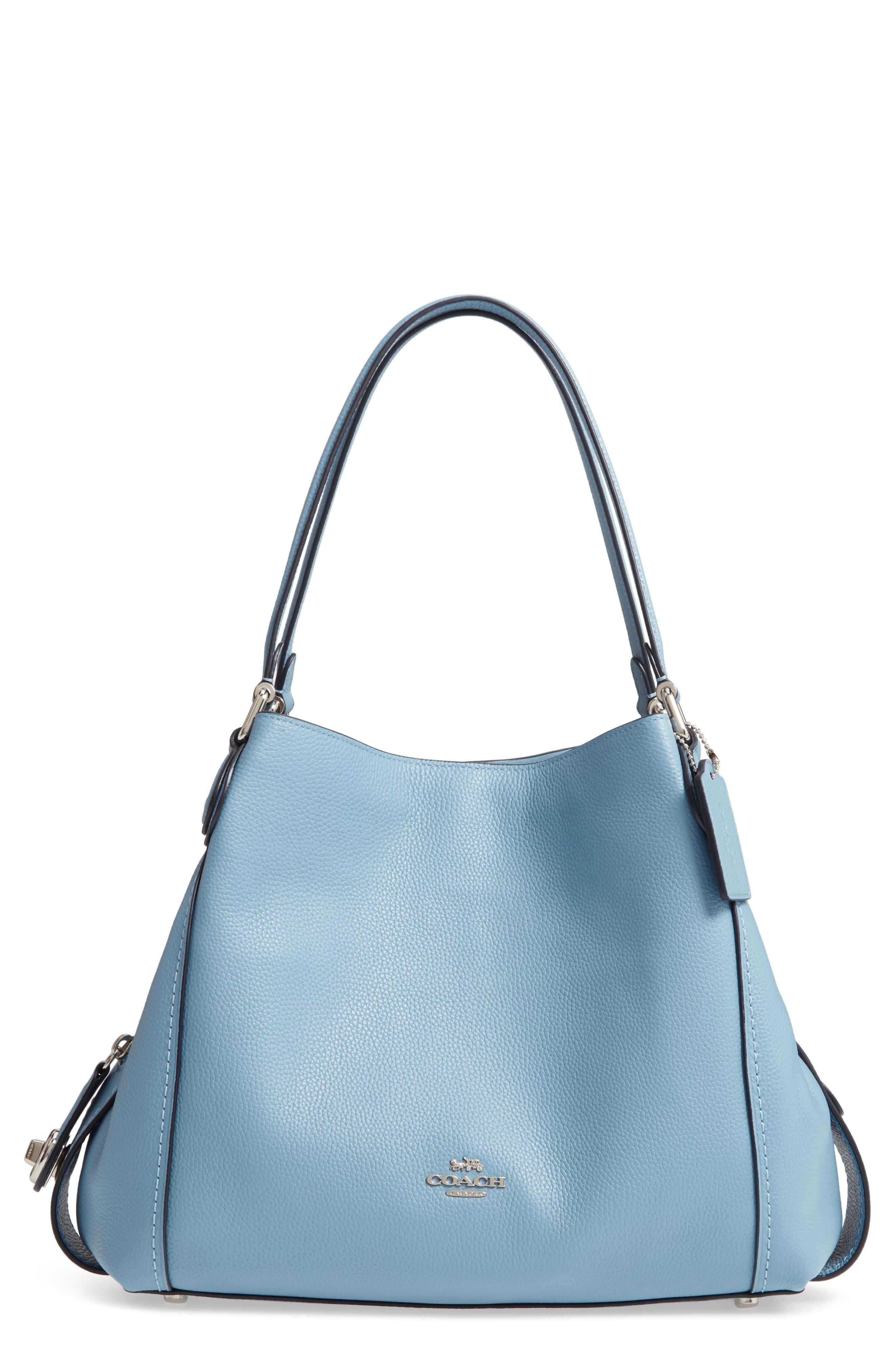 5eb572fdb7bec COACH Edie 31 Pebbled Leather Shoulder Bag in Blue - Lyst