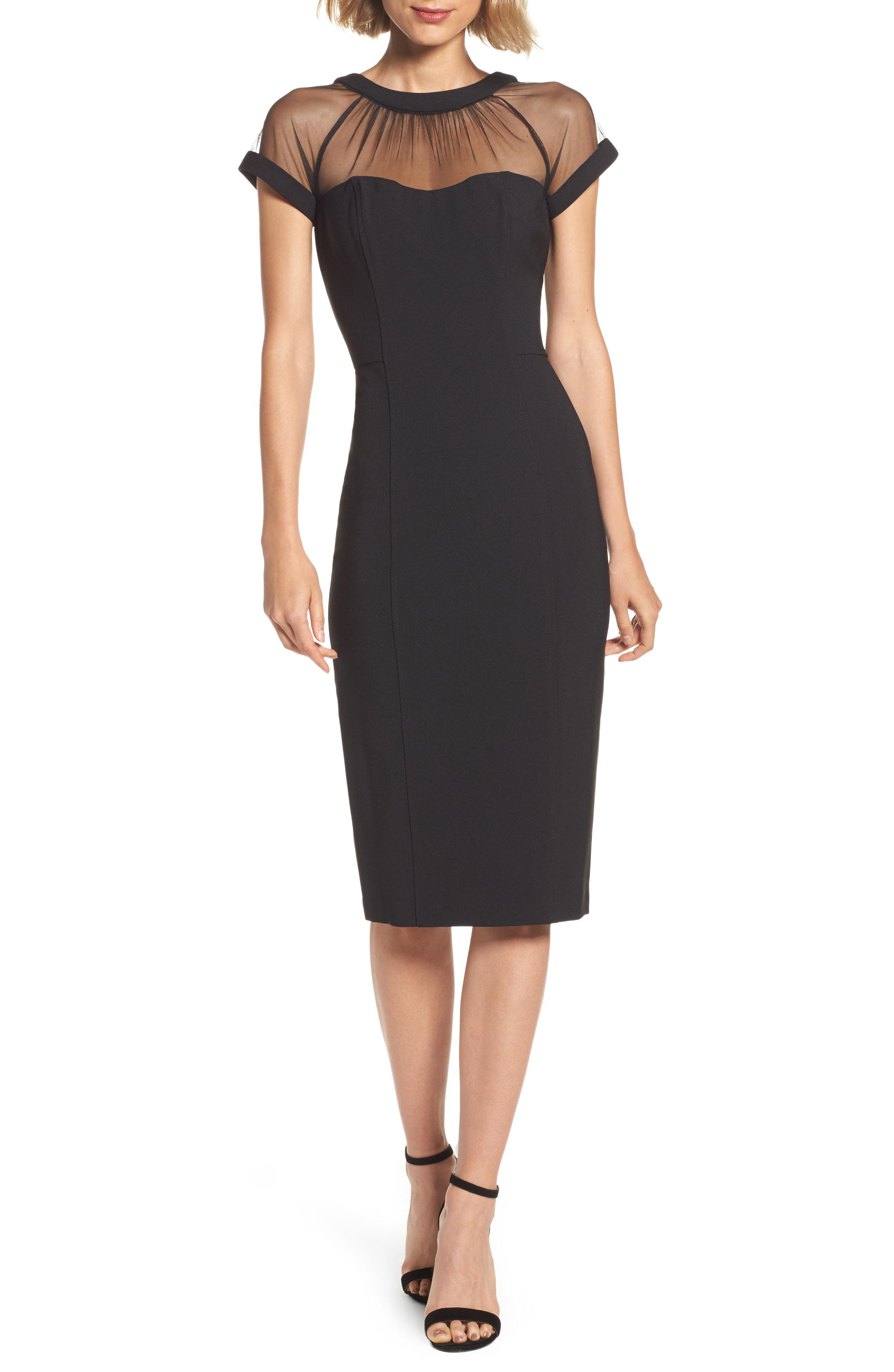 41a83923 Lyst - Maggy London Illusion Yoke Crepe Sheath Dress in Black