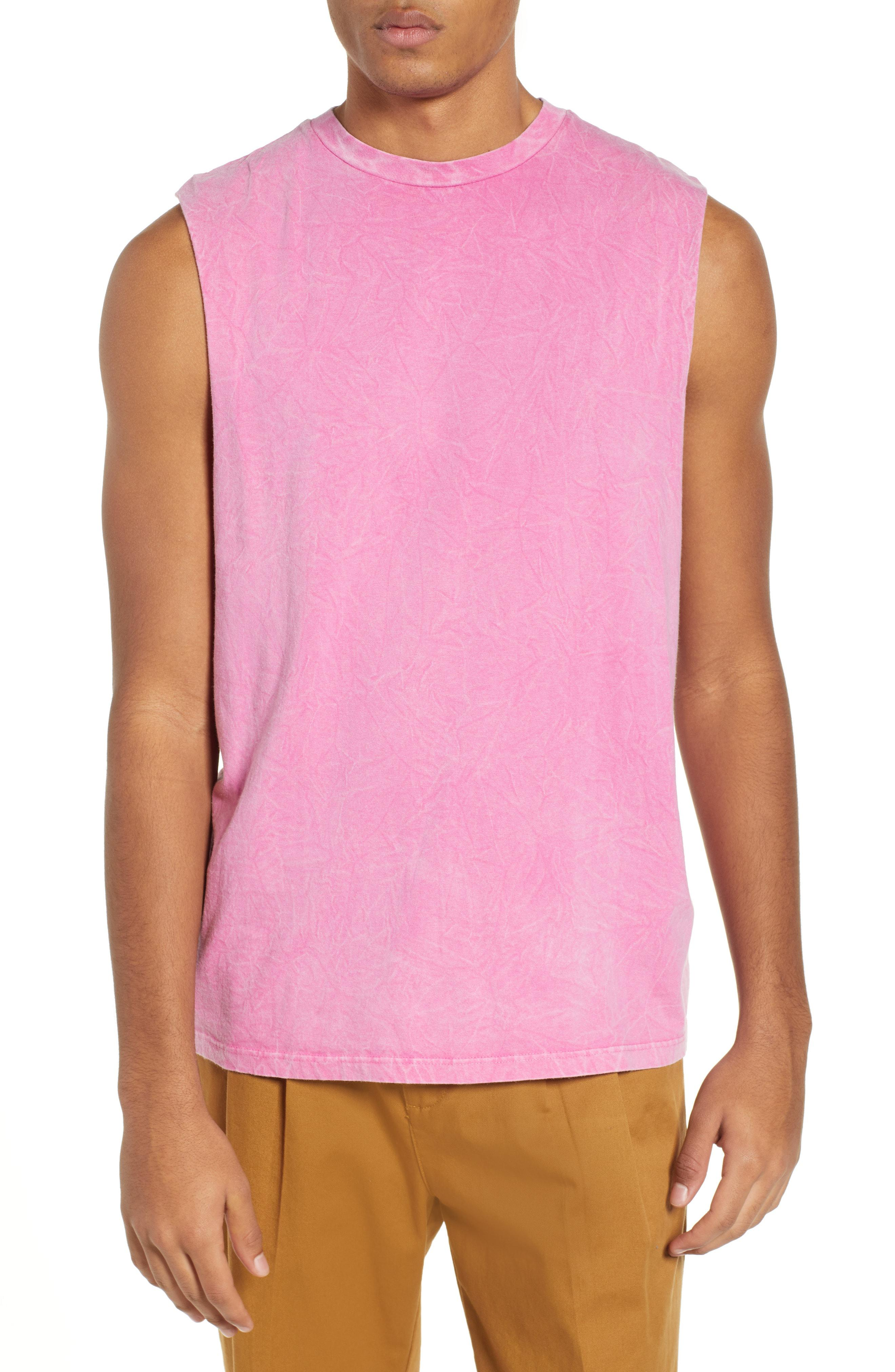 33b9d712c93f1 Lyst - TOPMAN Crinkle Tank in Pink for Men