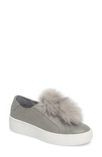 fd372424a9d Lyst - Steve Madden Breeze Faux Fur Pom Sneaker in Gray