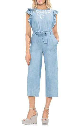 705fbe797867 Lyst - Vince Camuto Chambray Frayed Ruffle Sleeve Jumpsuit in Blue