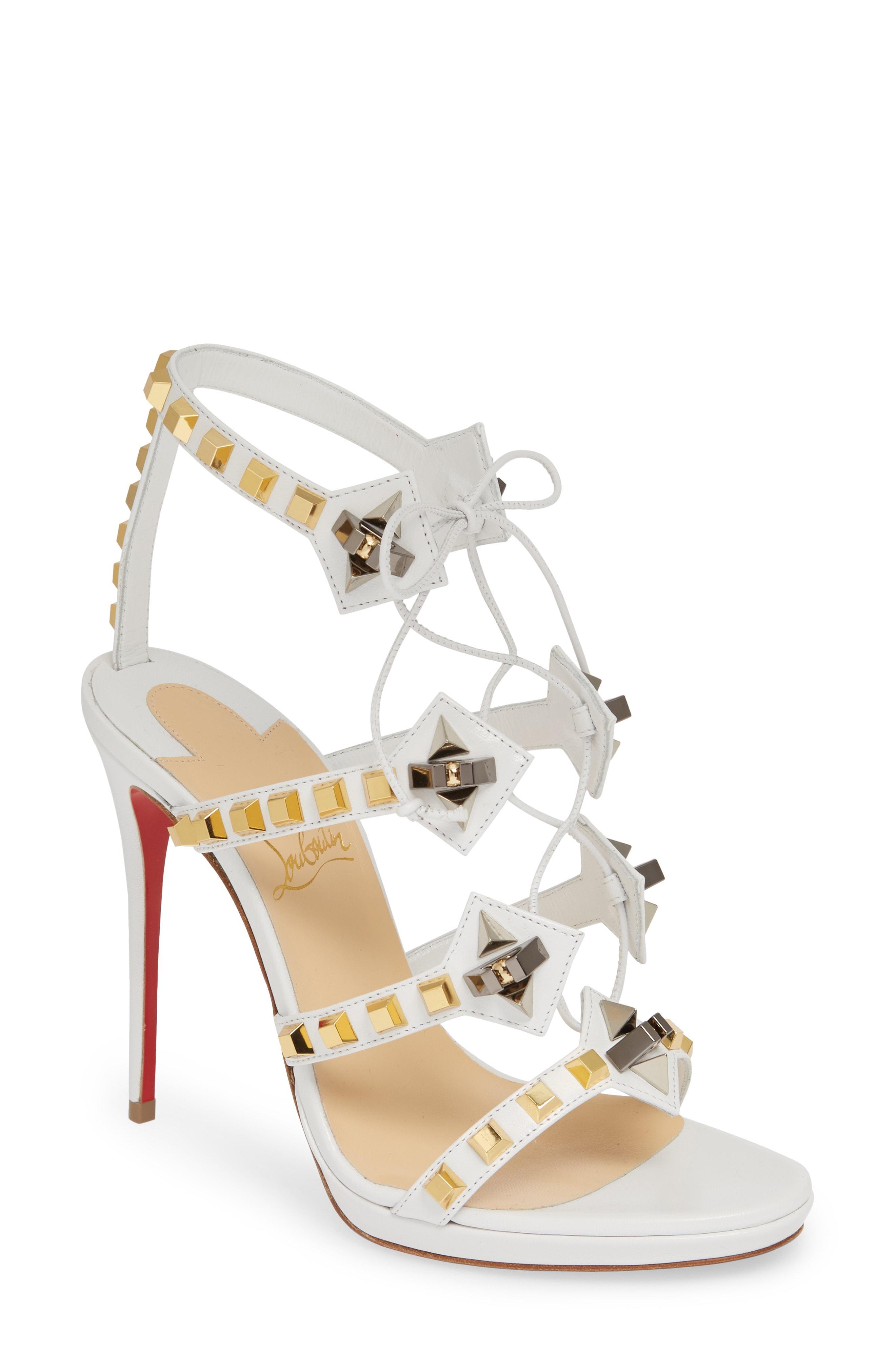 a9d2f4caf80 Christian Louboutin. Women s Metallic Multiplaticool Studded Gladiator  Sandal