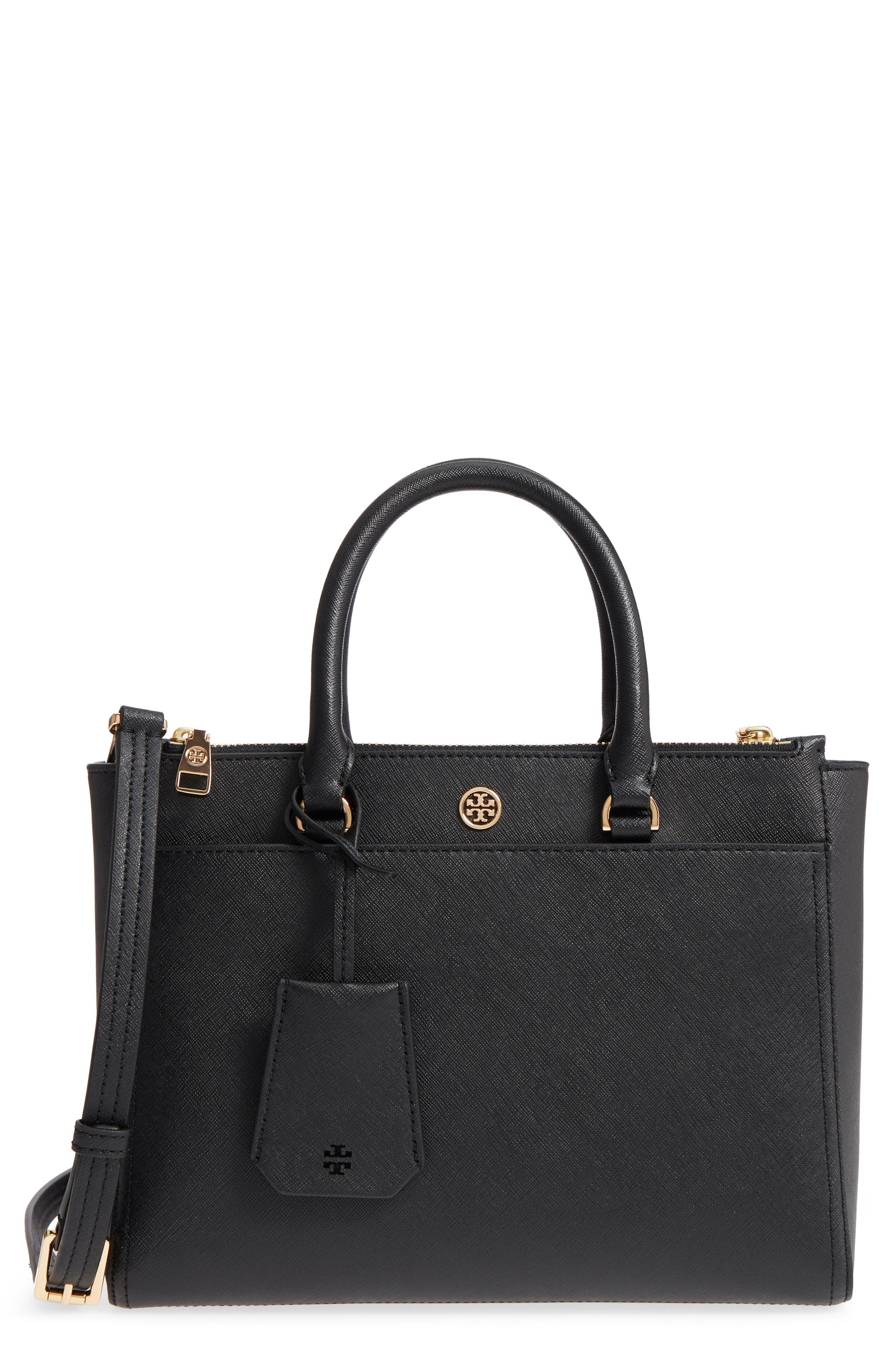 97cbc063b46f Lyst - Tory Burch Small Robinson Leather Tote in Brown