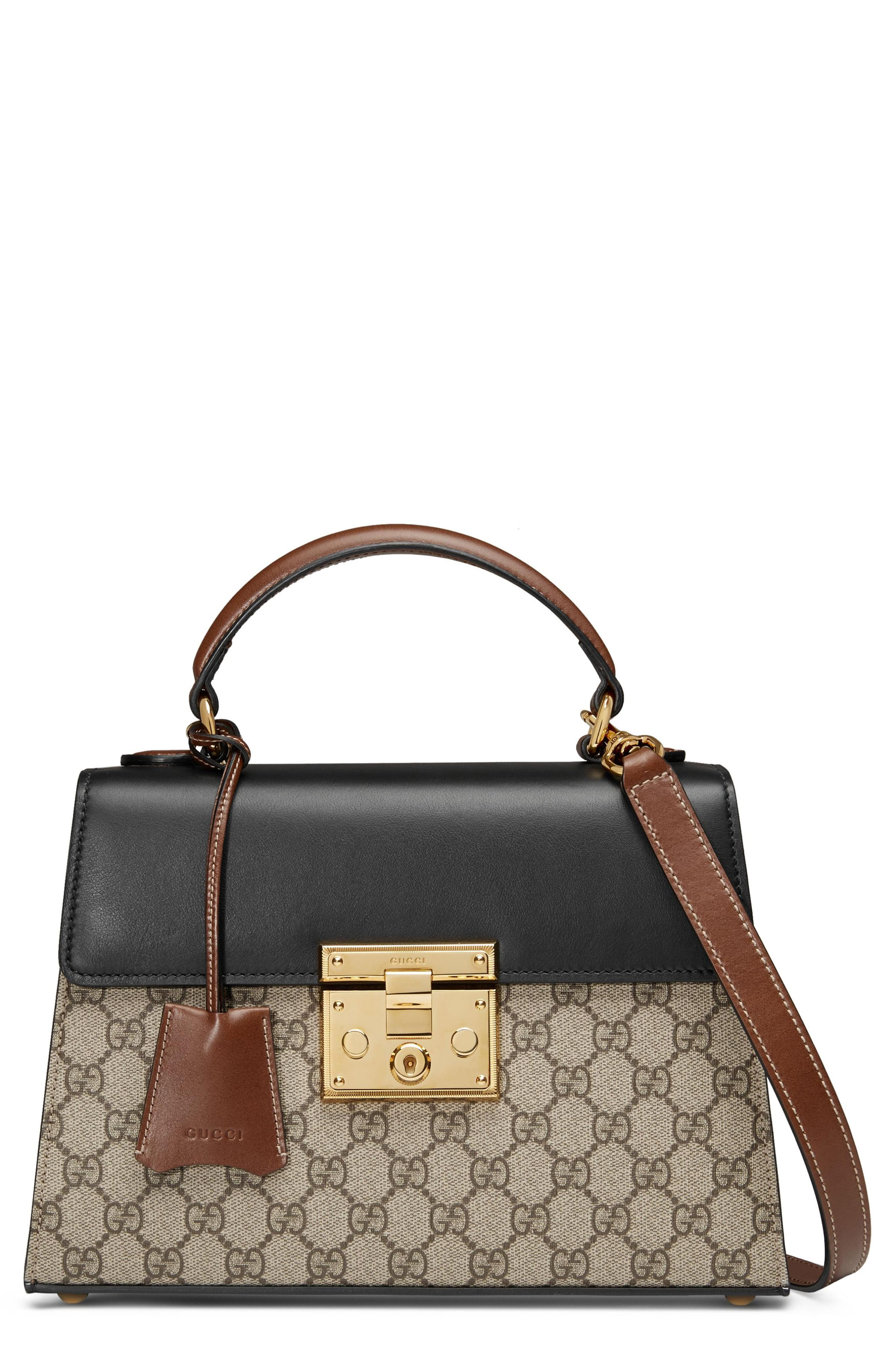 5a3f6ca45bd043 Gucci. Women's Black Small Padlock Gg Supreme Canvas & Leather Top Handle  Satchel
