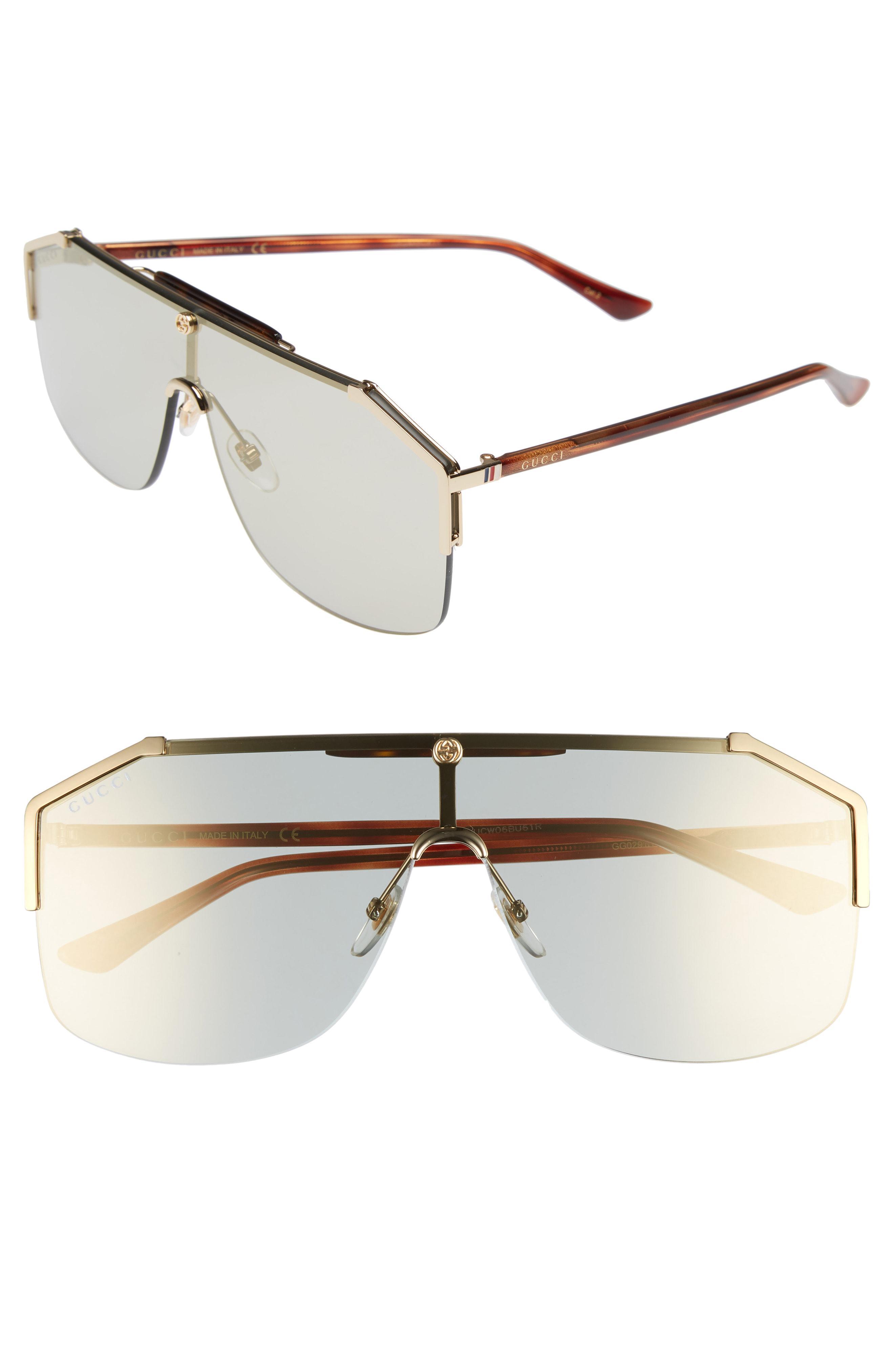 0e631a66b80 Lyst - Gucci Retro Web Shield 62mm Sunglasses - Blonde Havana for Men