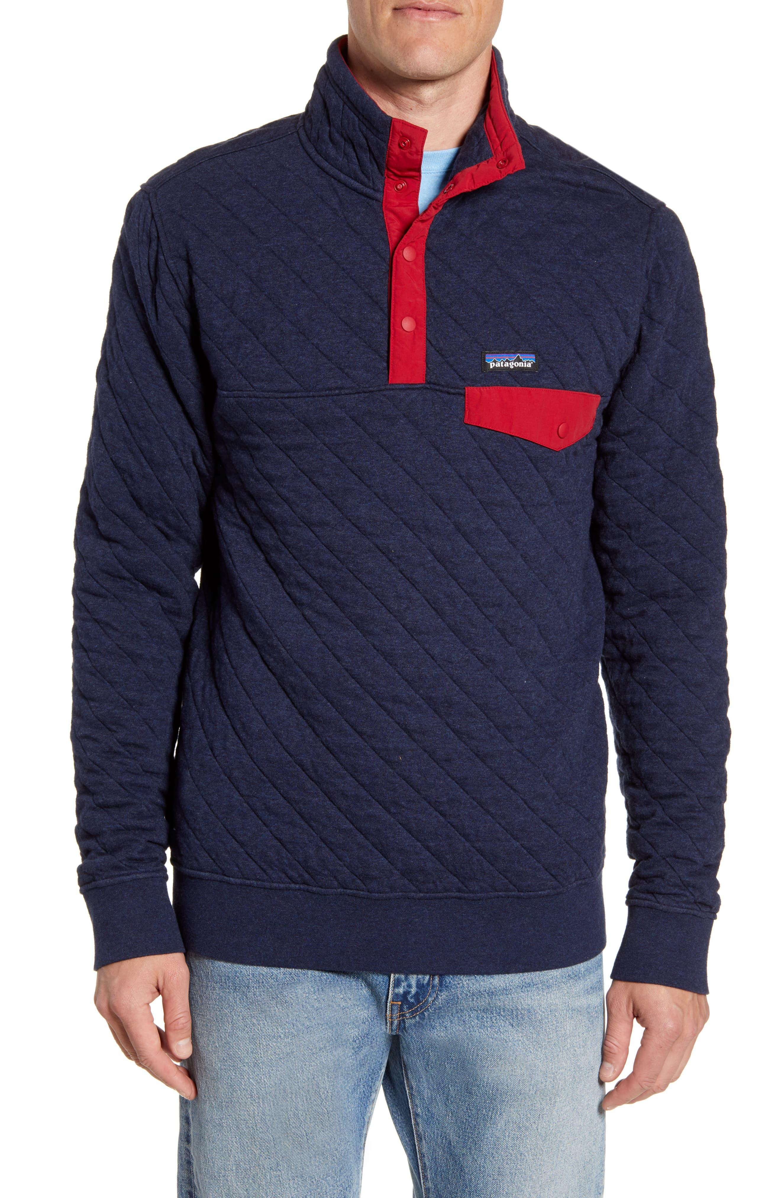 Patagonia Snap T Quilted Fleece Pullover In Navy Blue