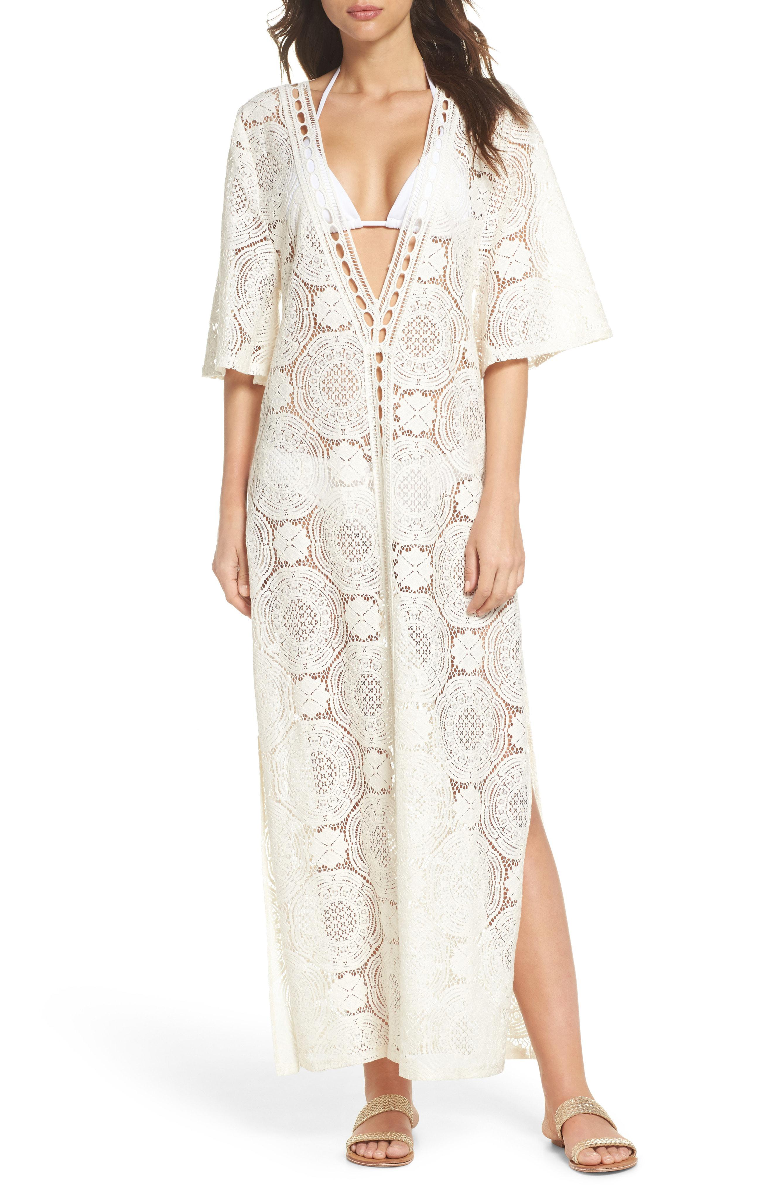2a04de6cea Chelsea28 Lace Cover-up Maxi Dress in White - Lyst