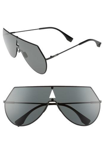 f6873261bac Lyst - Fendi 99mm Eyeline Aviator Sunglasses in Black