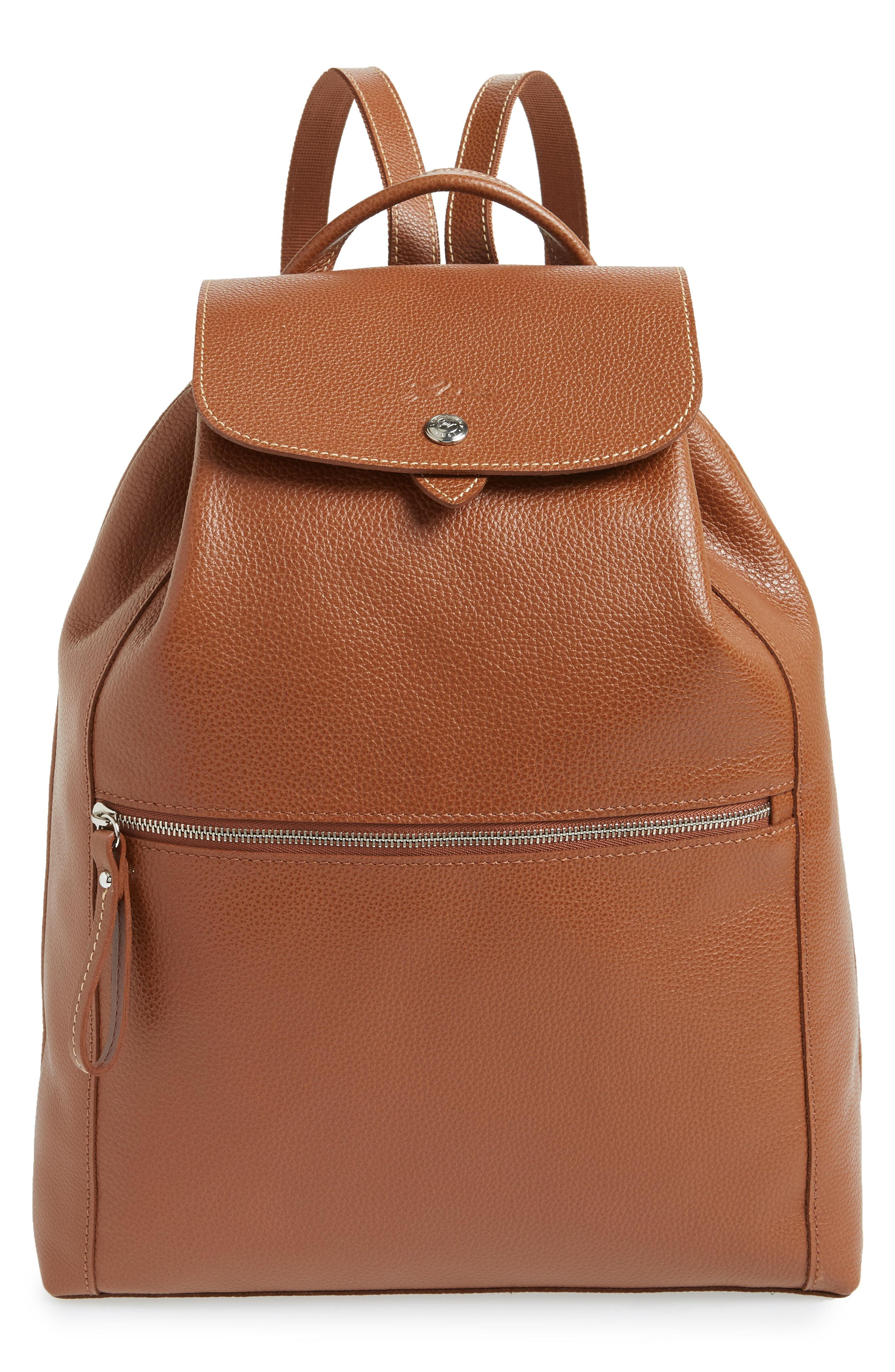 774d52659c3d Lyst - Longchamp Veau Leather Backpack in Brown