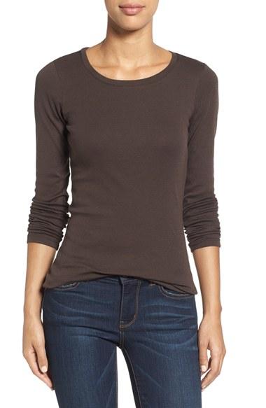 Caslon caslon long sleeve scoop neck cotton tee in brown for Long sleeve scoop neck shirt