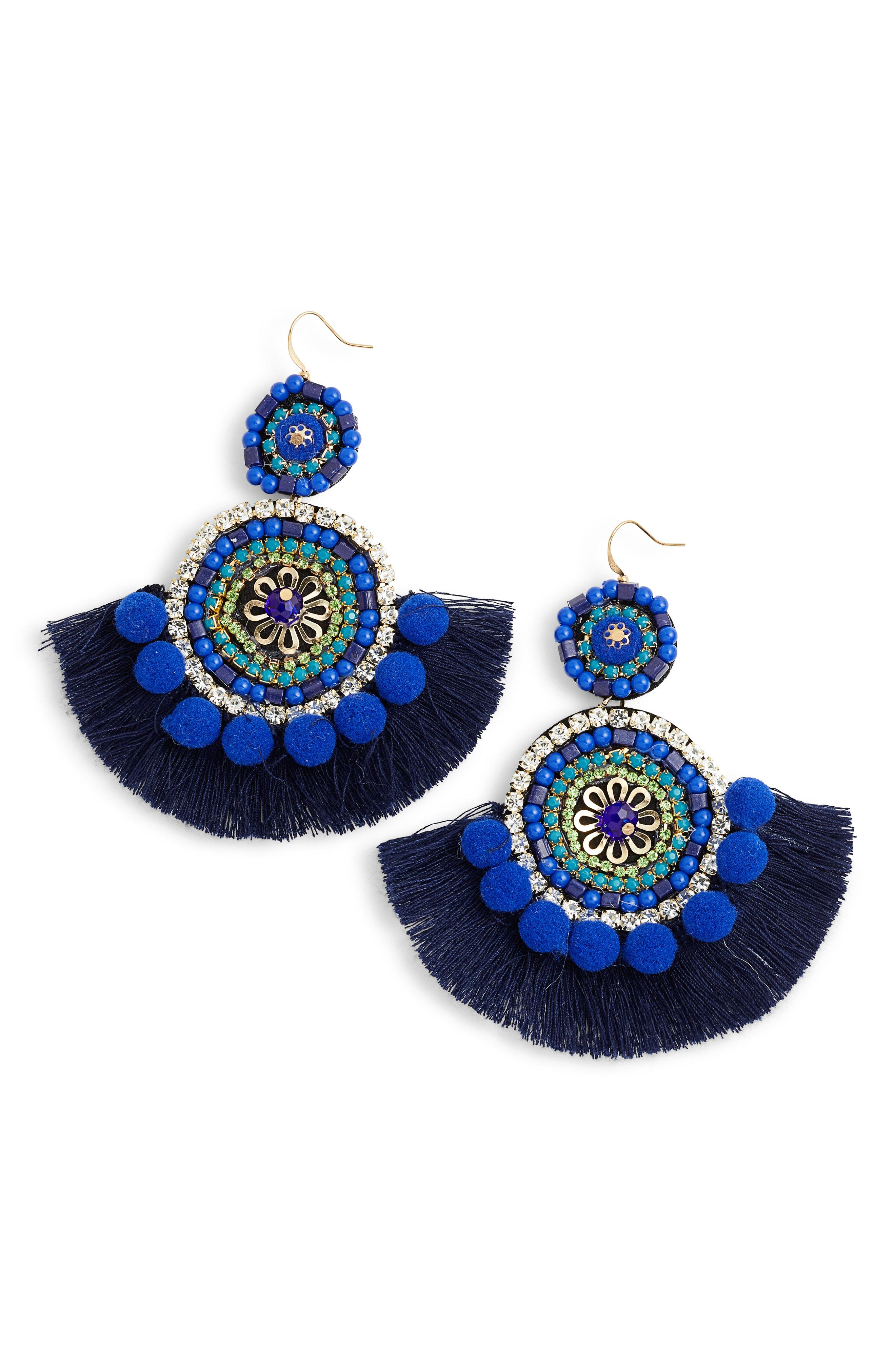 159fa508b57fc1 Mad Jewels Bohemian Beaded Statement Earrings in Blue - Lyst