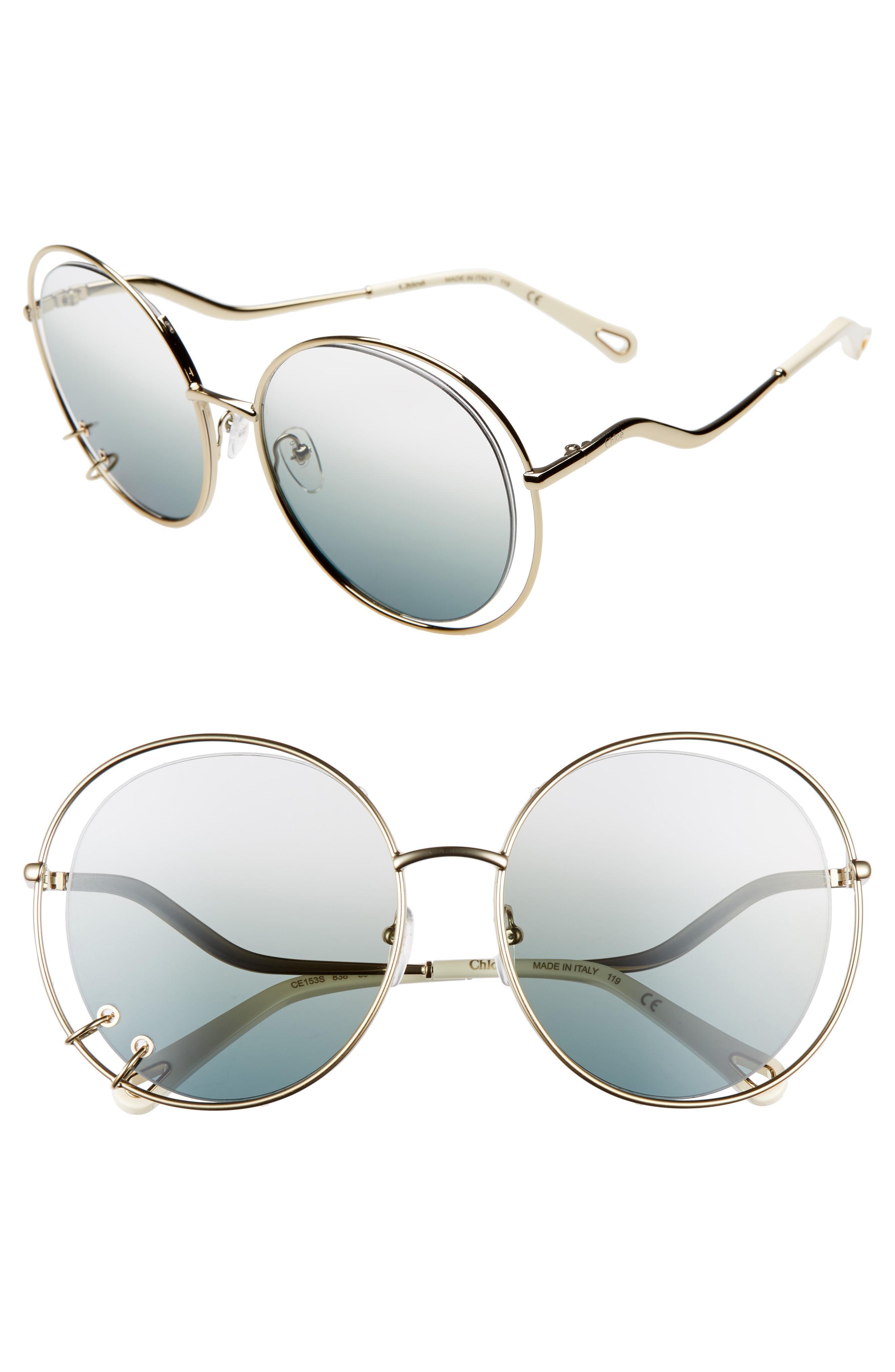 fab47dba512c Lyst - Chloé Wendy 59mm Round Sunglasses in Metallic