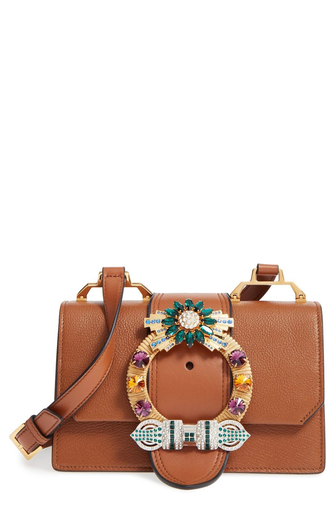 98d6f688fdc0 Miu Miu. Women s Brown  small Madras  Crystal Embellished Leather Shoulder  Bag
