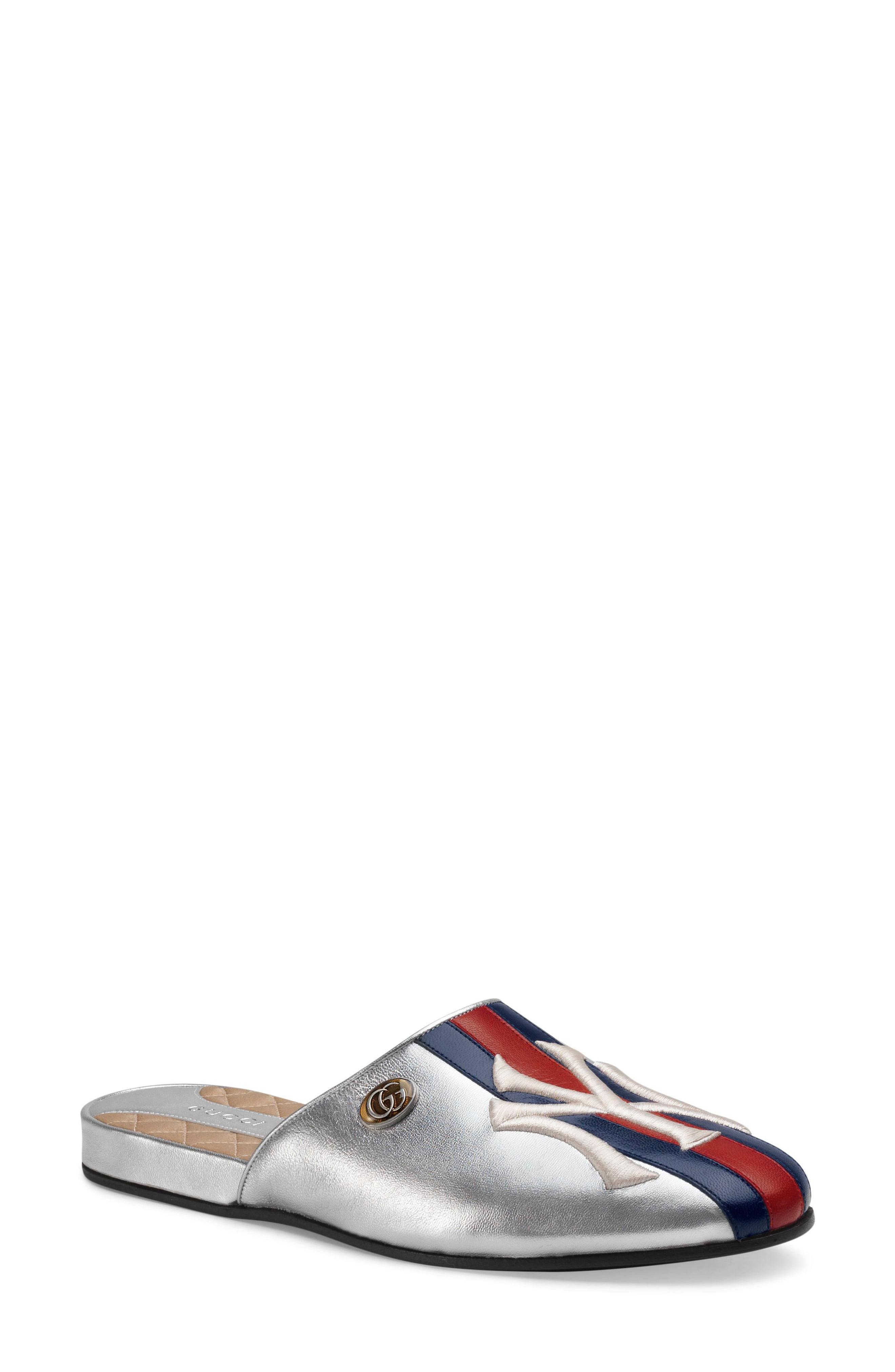 803dd185a Lyst - Gucci Ny Flamel Flat Mule in Metallic