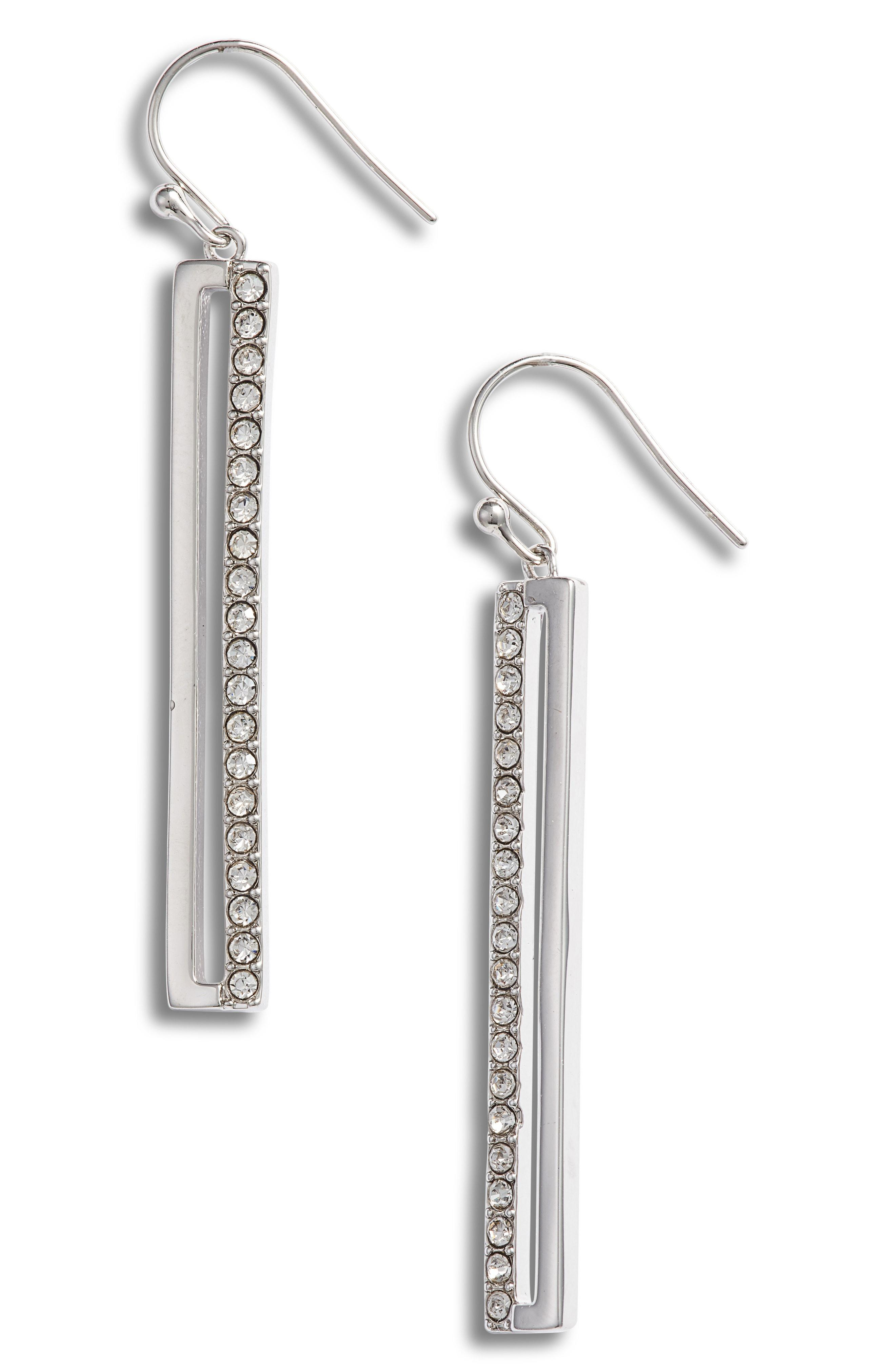 3870b01fa Lyst - Vince Camuto Pave Crystal Linear Drop Earrings in Metallic