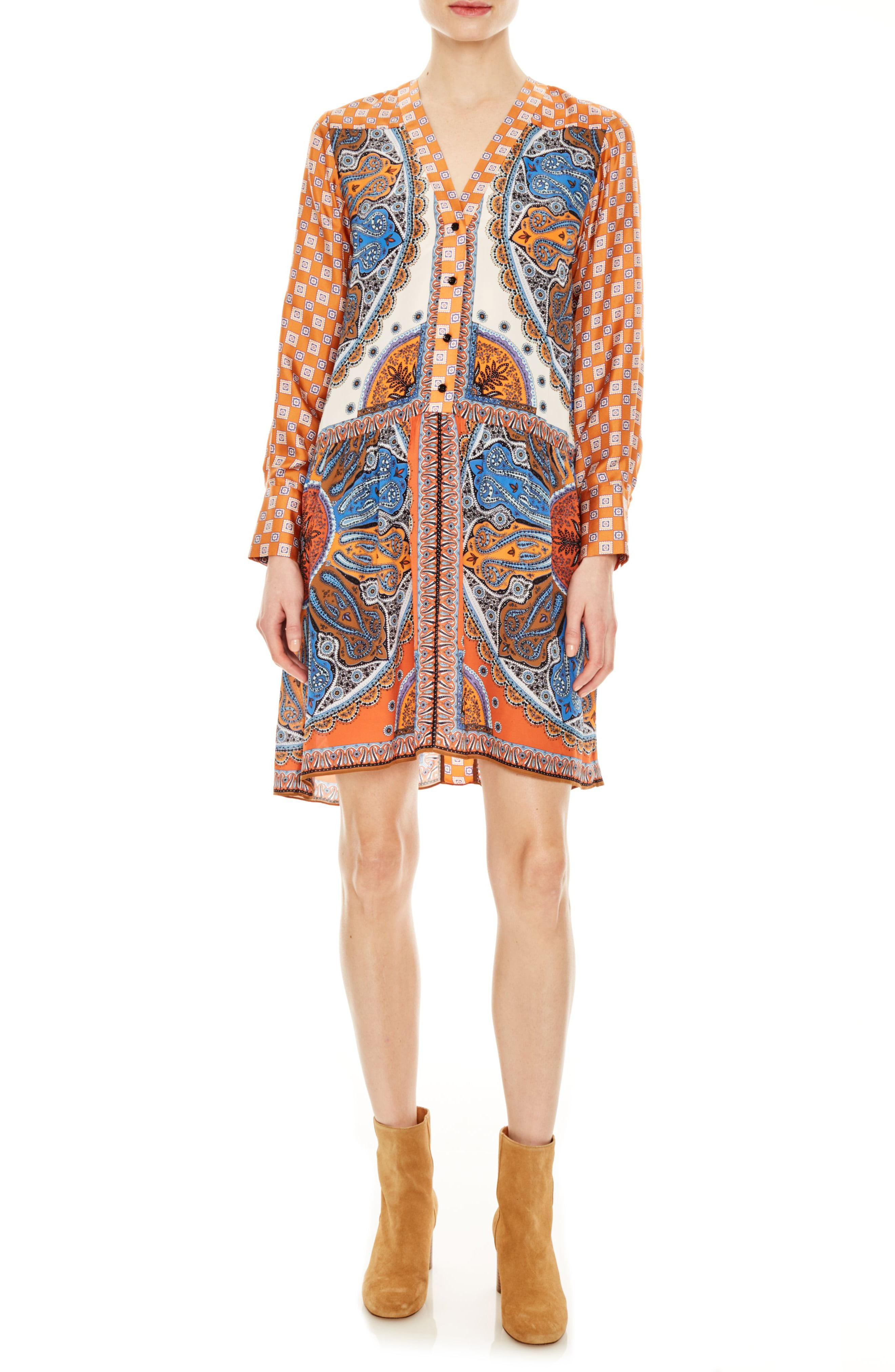 865da394c87 Sandro. Women s Hoani Pattern Mix Long Sleeve Shirtdress