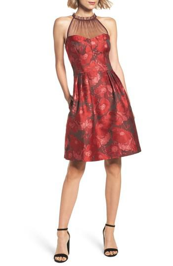 Lyst Maggy London Brocade Fit Amp Flare Dress In Red