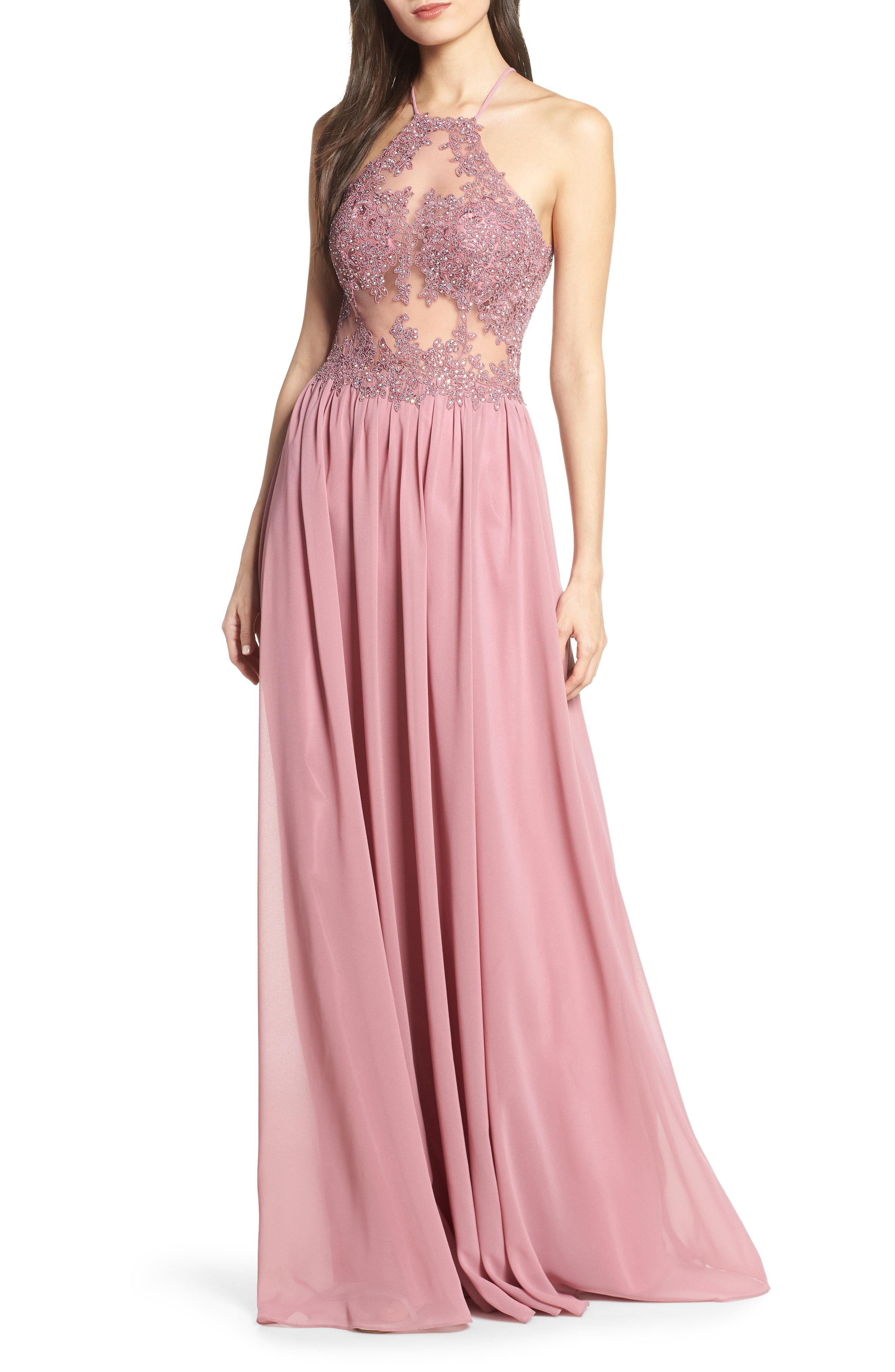 34d29366165 Blondie Nites. Women s Pink Embroidered Illusion Halter Bodice Evening Dress