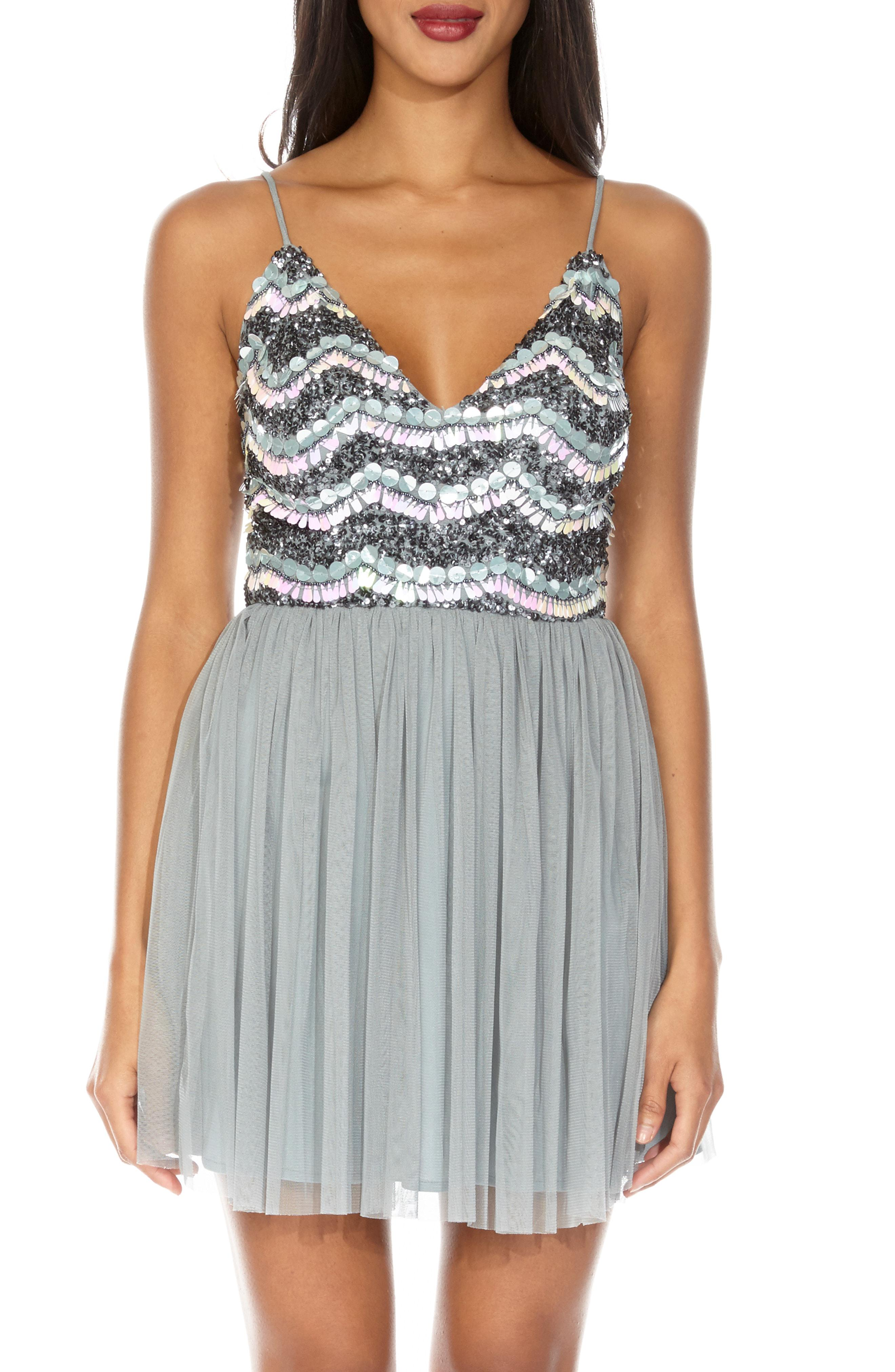Amika Beads Dress In Laceamp; Mesh Lyst Sequin Party Gray QdshrCxt