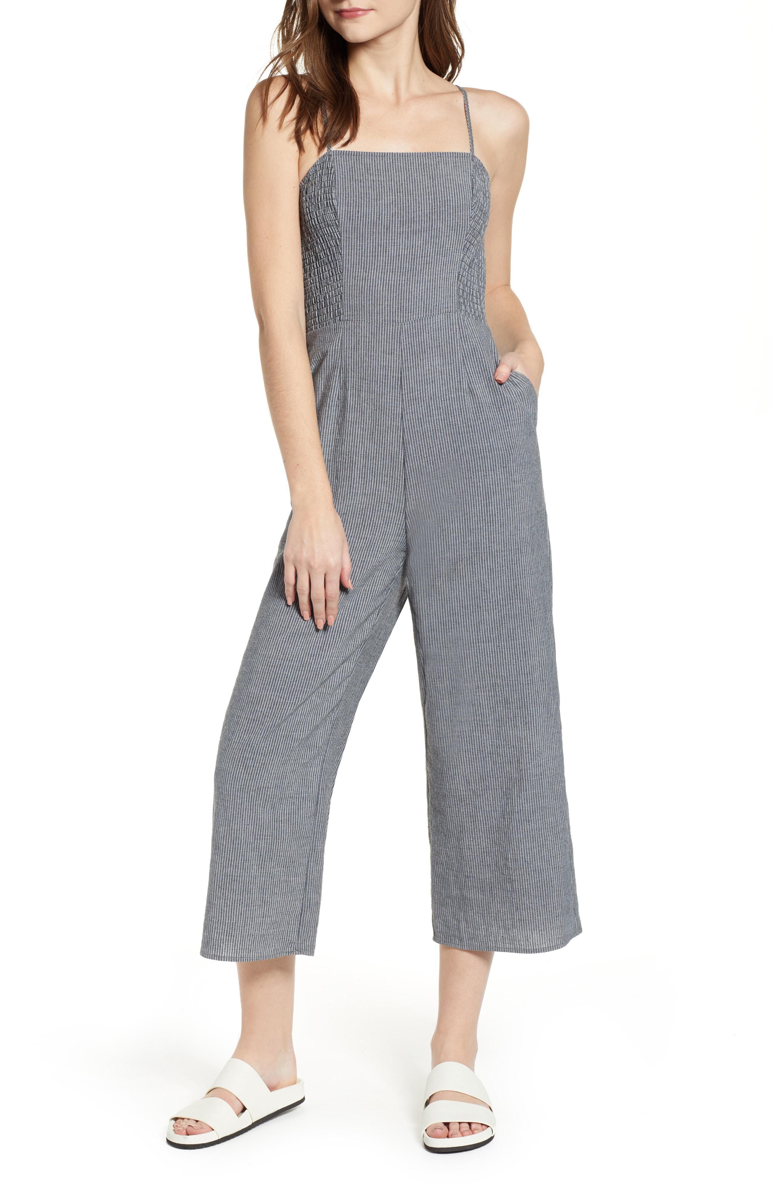 5133c647898b Lyst - The Fifth Label Laneway Stripe Smocked Crop Jumpsuit in Black