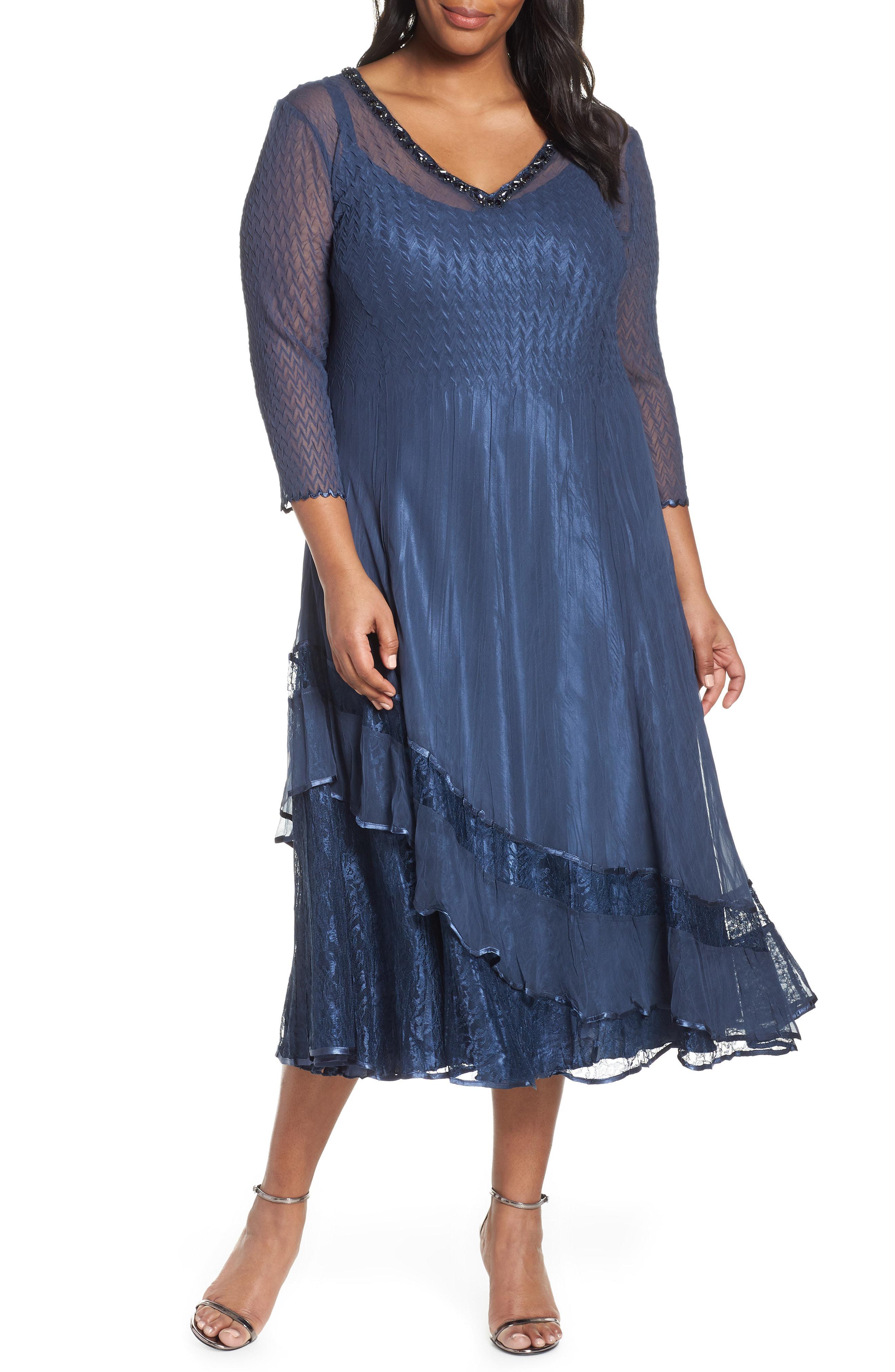 340ea3163b Lyst - Komarov Tiered Midi Dress in Blue