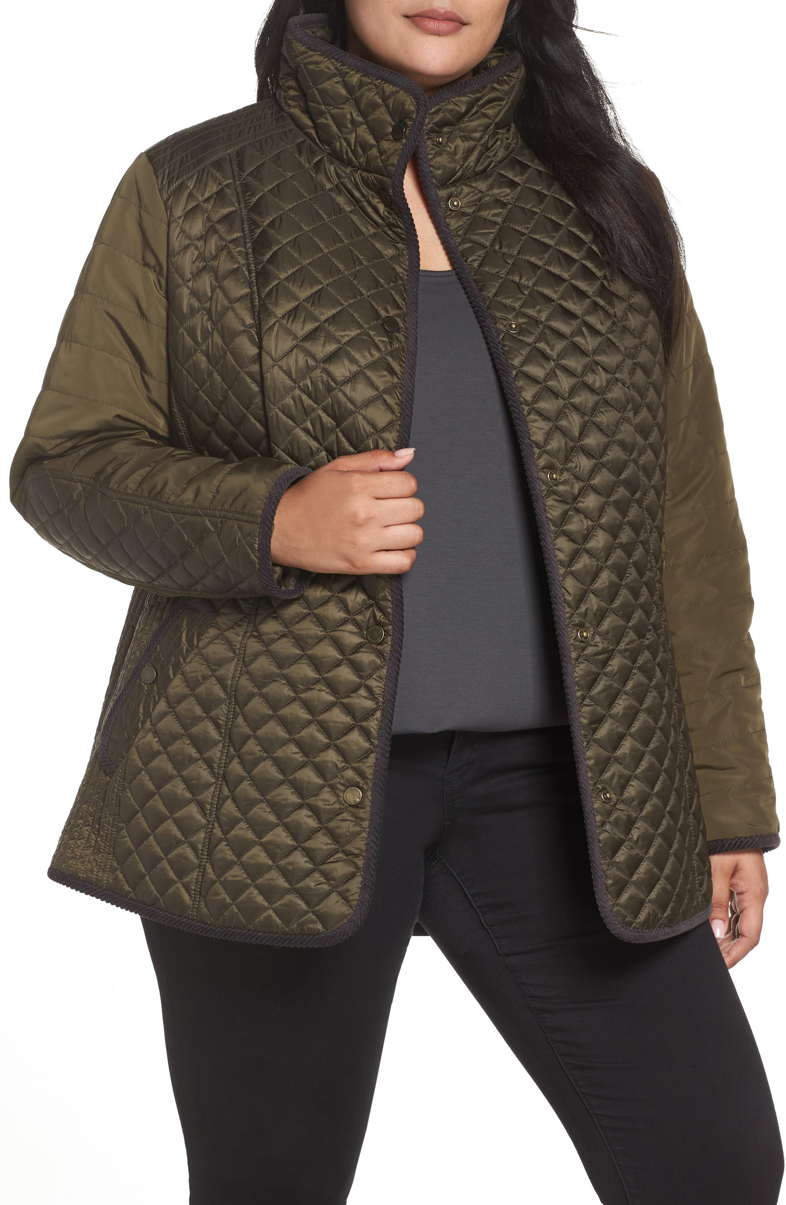 553c8722c16e Lyst - Gallery Quilted Contrast Sleeve Jacket