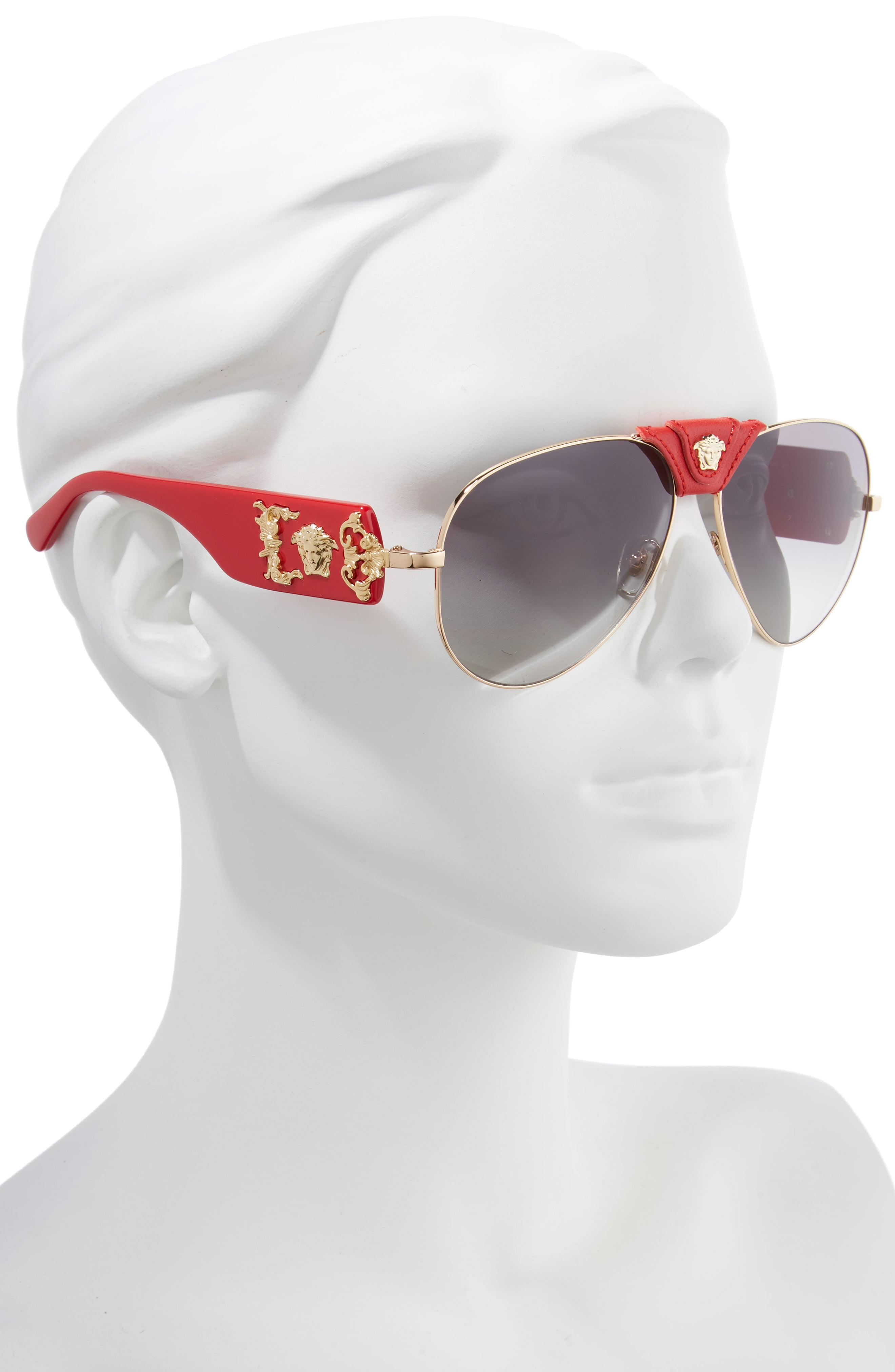 cca73ef14881 Versace - Gray Medusa 62mm Aviator Sunglasses - Lyst. View fullscreen