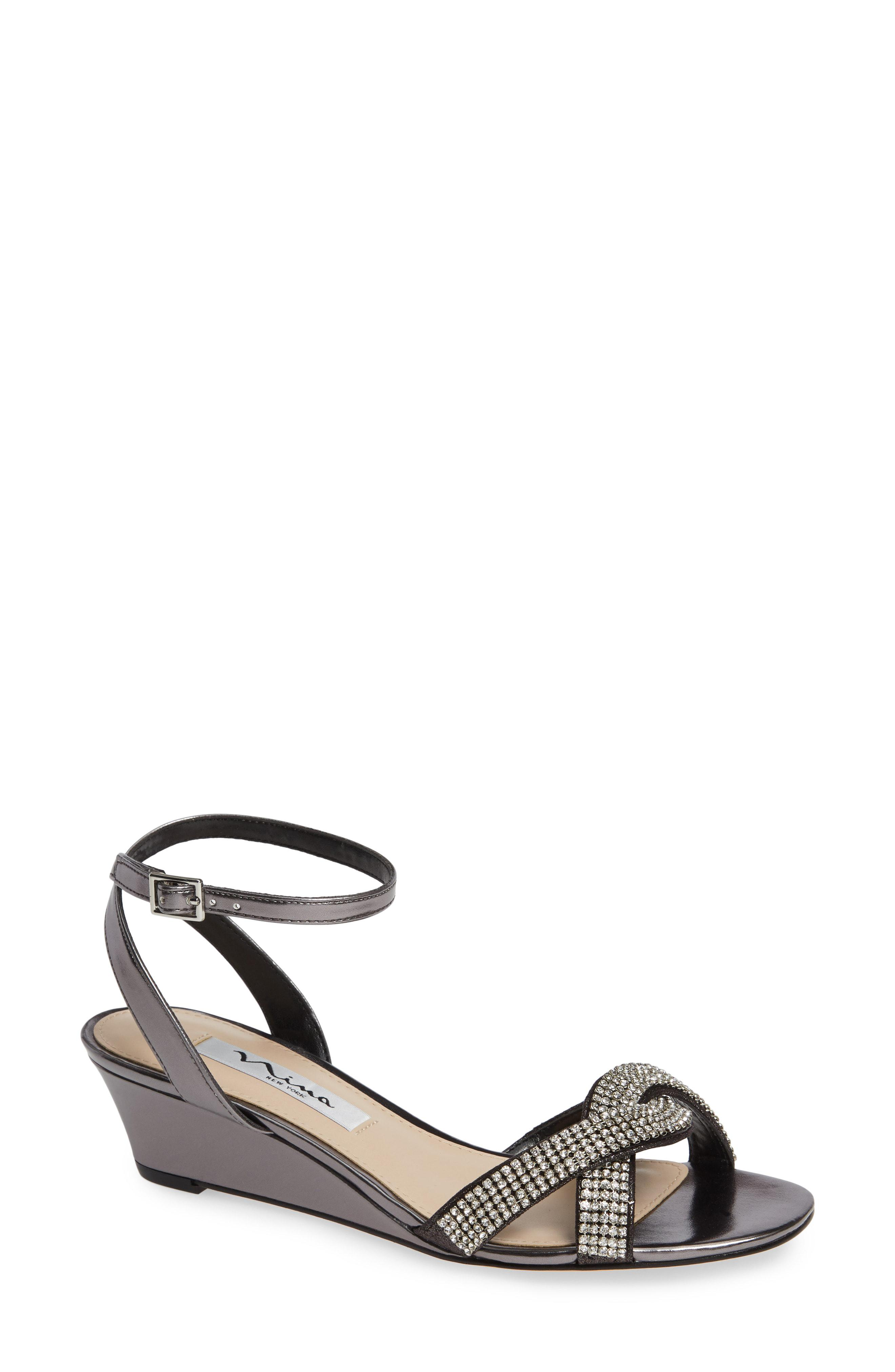 866d239122 Lyst - Nina Florina Crystal Embellished Wedge Sandal in Metallic