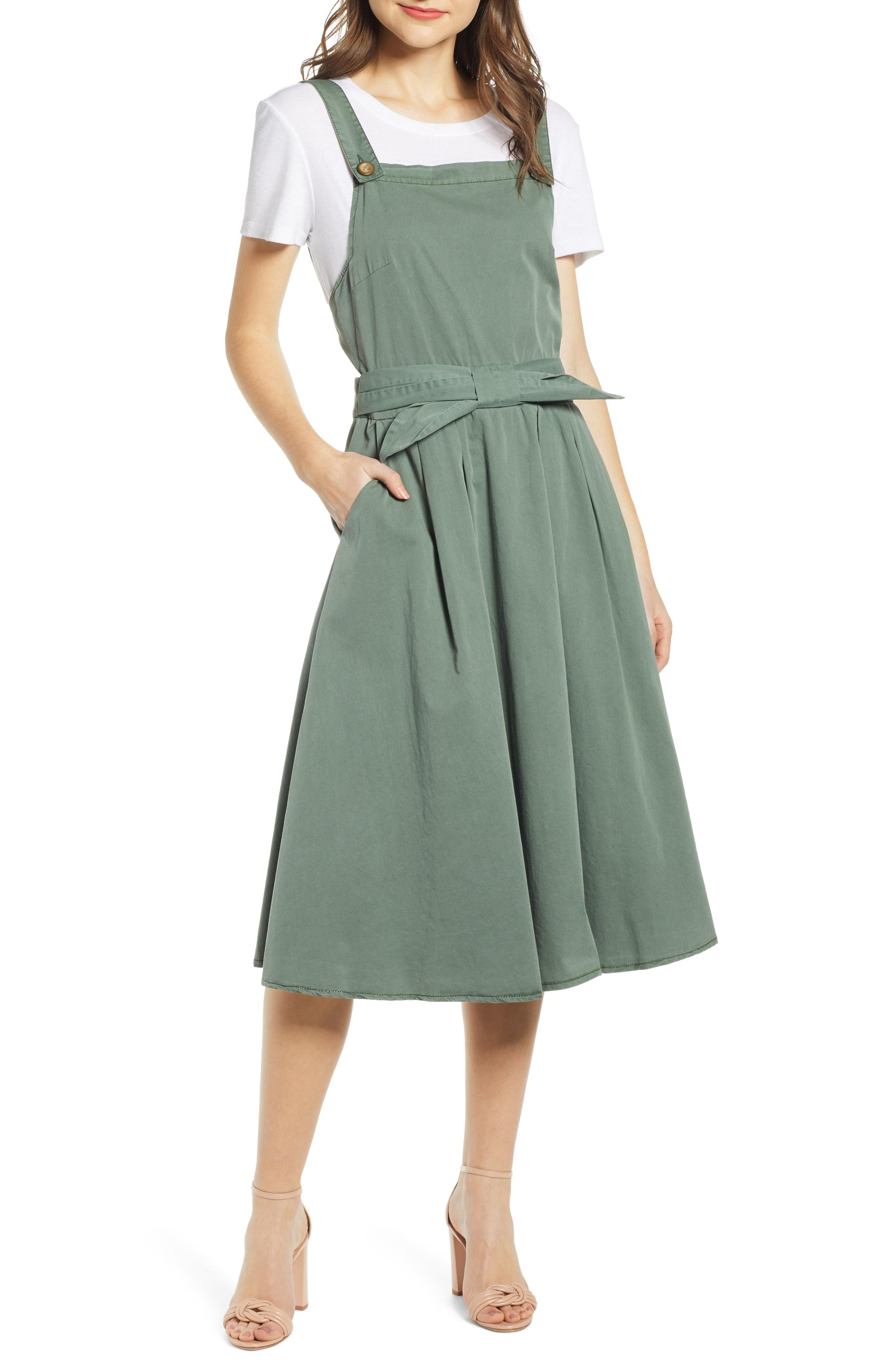 649ab5cb14a1 Lyst - Vero Moda Flame Bow Front Cotton Jumper Dress in Green