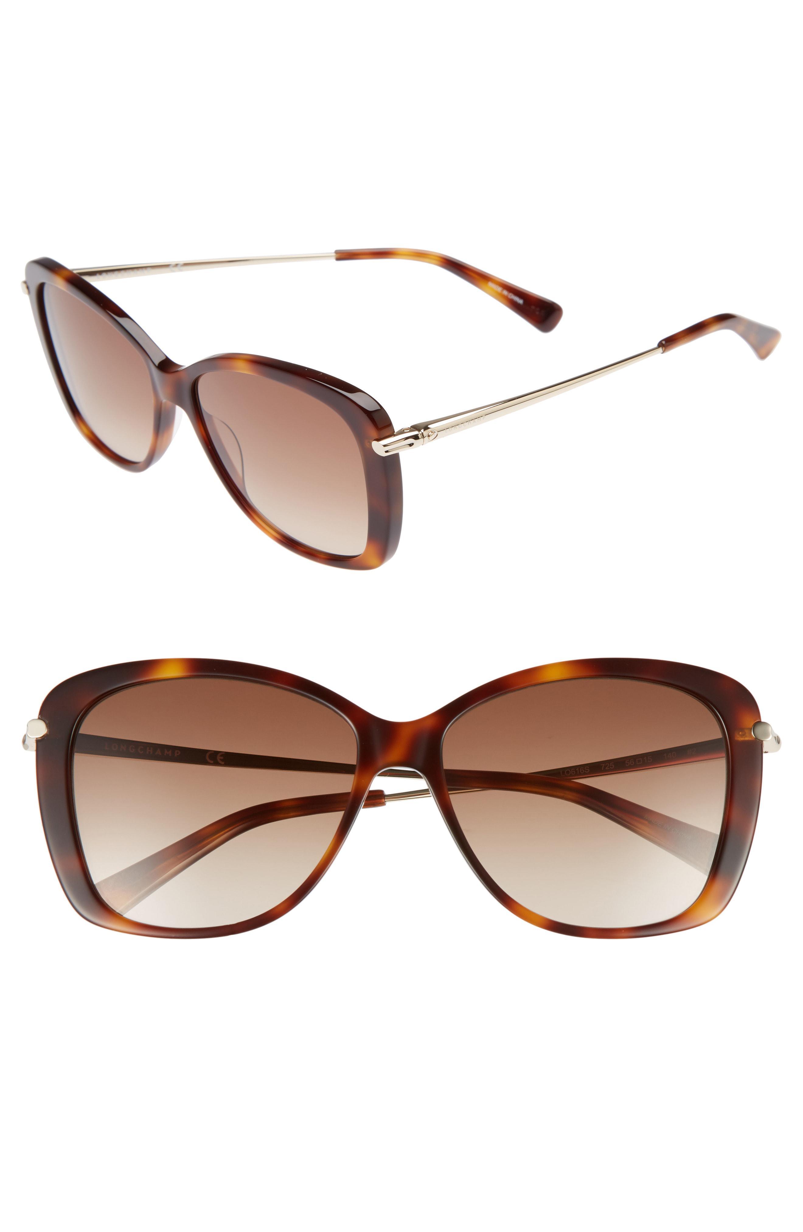 9668abe874 Longchamp - Brown 56mm Gradient Lens Butterfly Sunglasses - Blonde Havana -  Lyst. View fullscreen