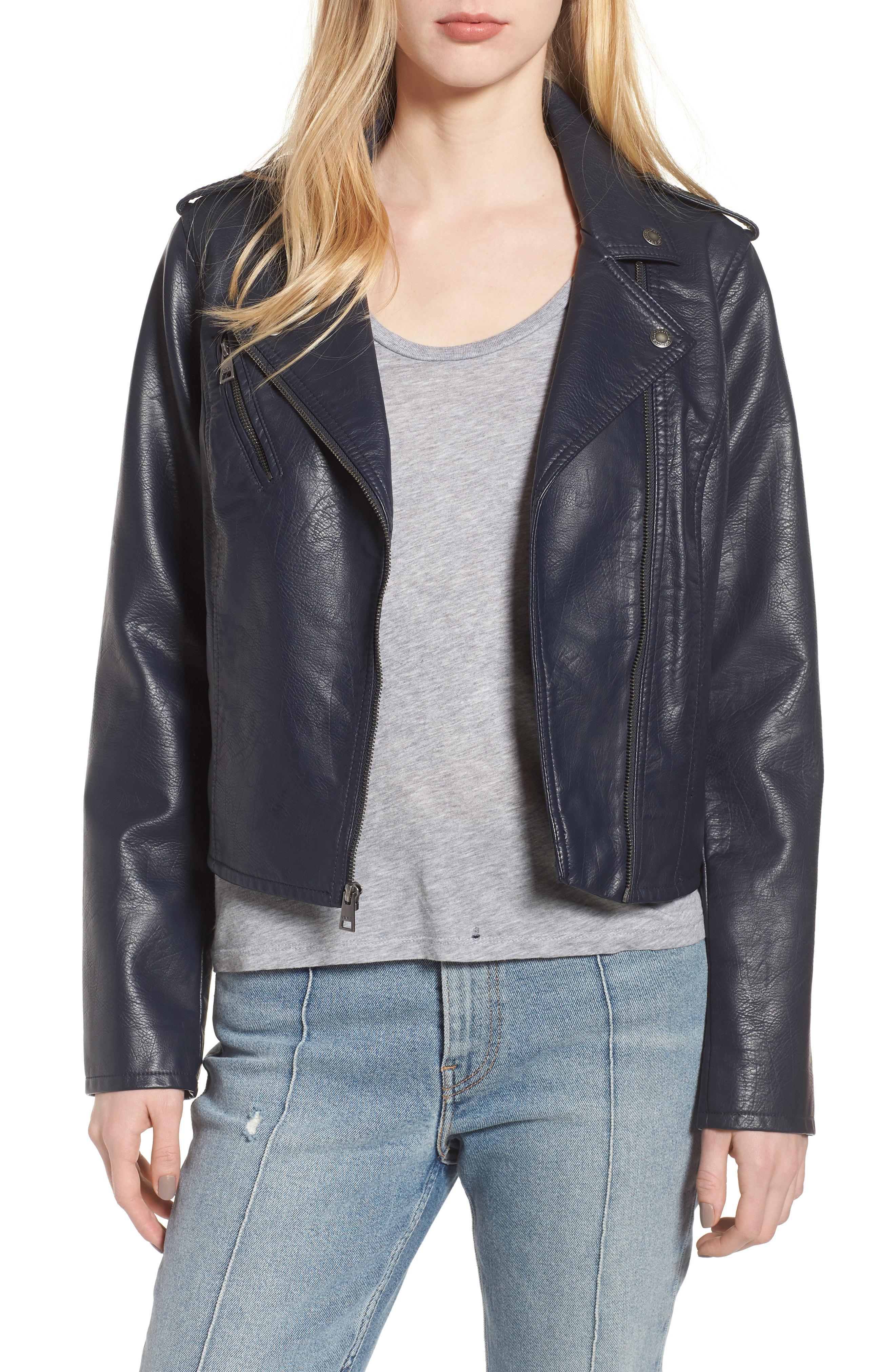 f9529546bc4 Lyst - Levi S Faux Leather Moto Jacket in Blue